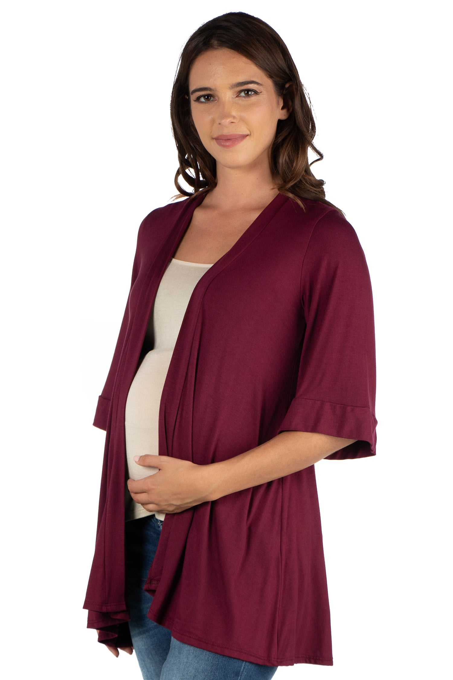 24seven Comfort Apparel Elbow Length Sleeve Open Front Maternity Cardigan-SHRUGS-24Seven Comfort Apparel-WINE-1X-24/7 Comfort Apparel