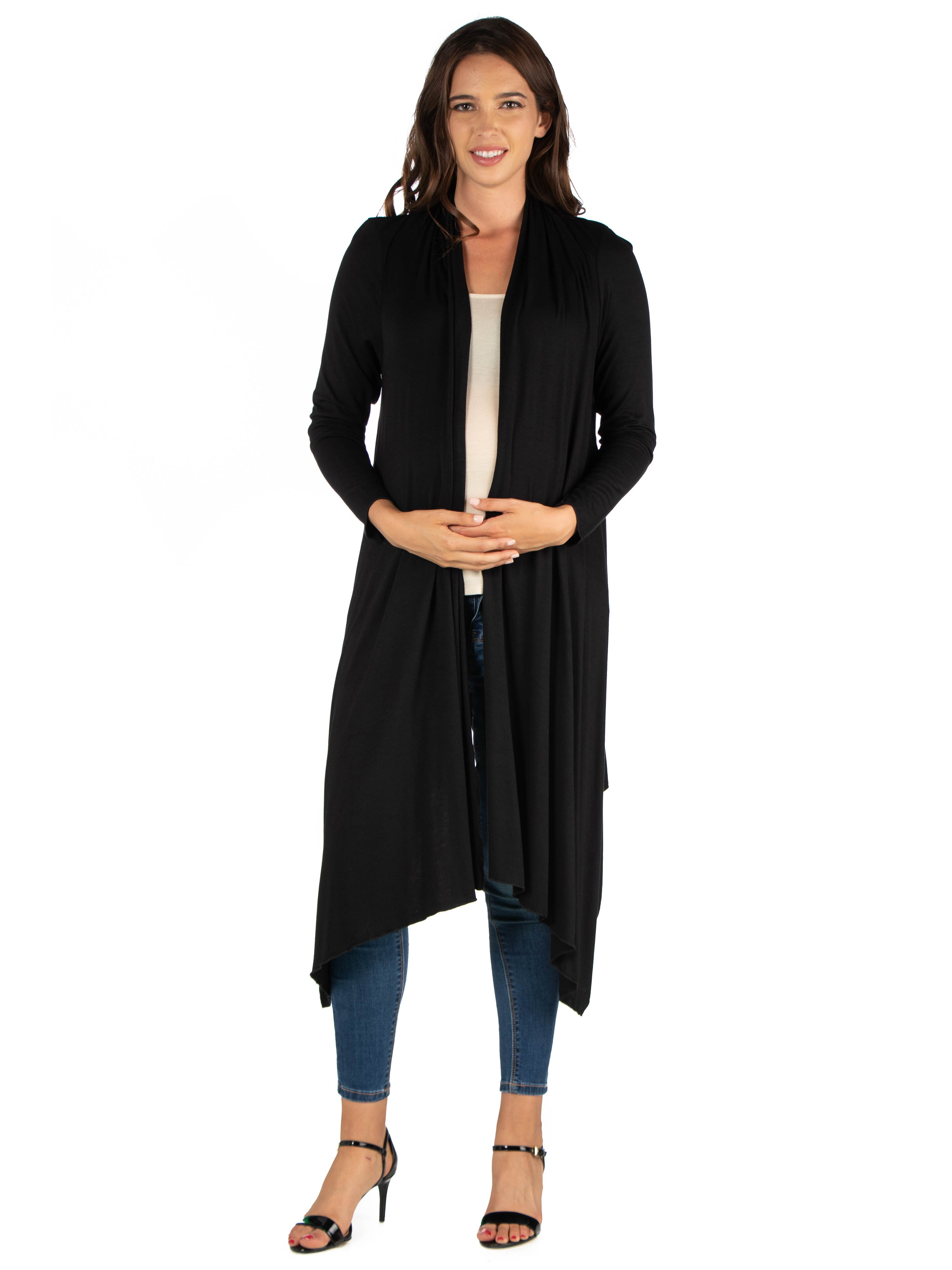 24seven Comfort Apparel Extra Long Open Front Maternity Cardigan-SHRUGS-24Seven Comfort Apparel-CHARCOAL-S-24/7 Comfort Apparel