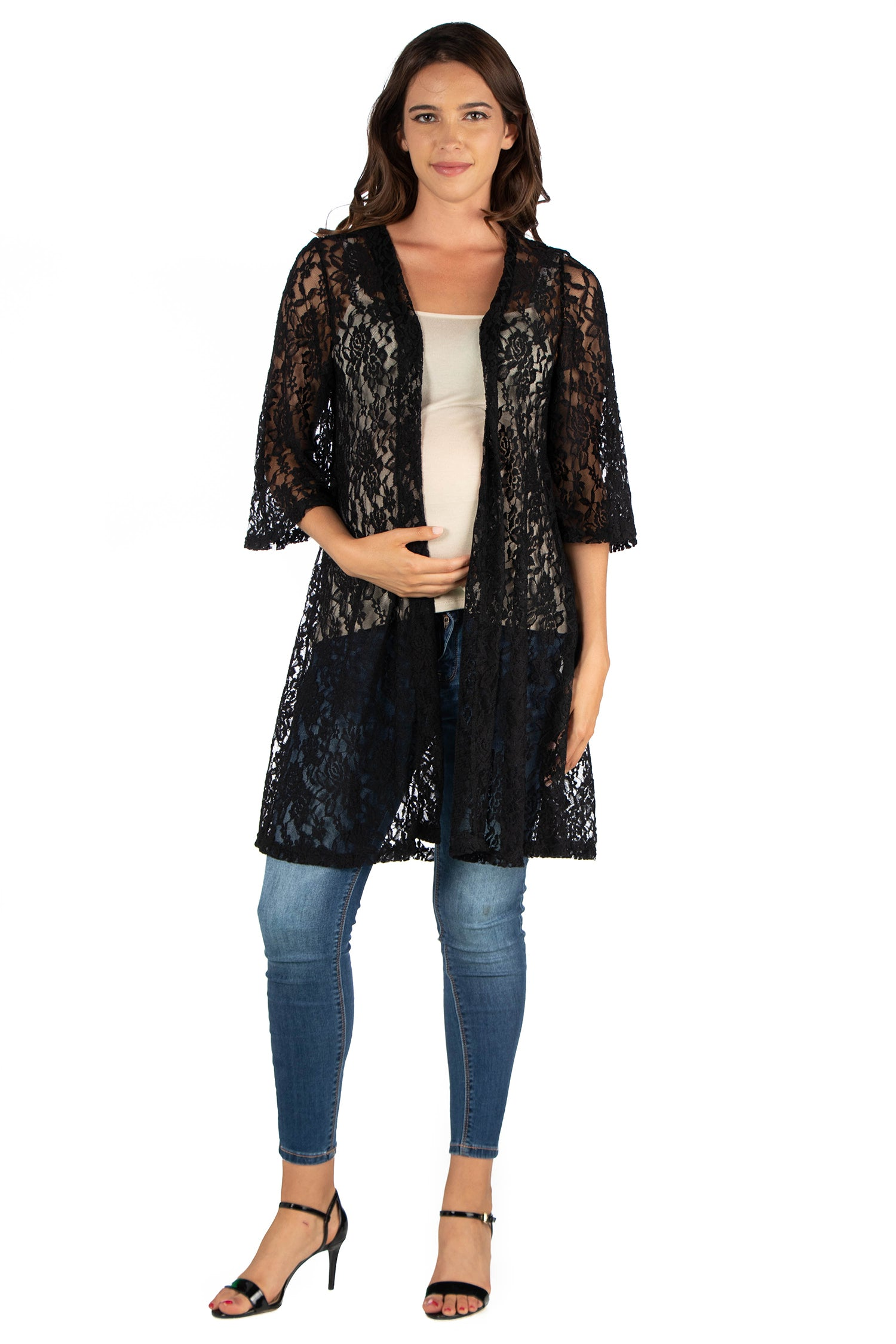 24seven Comfort Apparel Knee Length Sheer Black Lace Maternity Cardigan-SHRUGS-24Seven Comfort Apparel-BLACK-S-24/7 Comfort Apparel