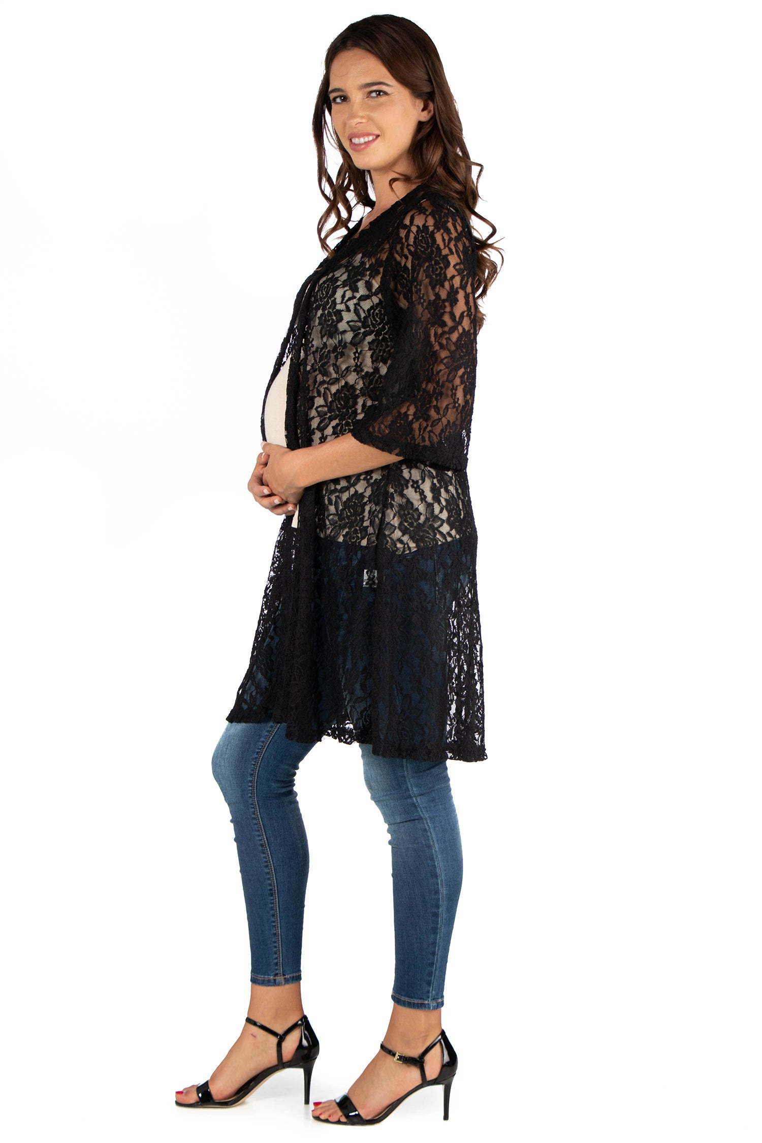 24seven Comfort Apparel Knee Length Sheer Black Lace Maternity Cardigan-SHRUGS-24Seven Comfort Apparel-BLACK-1X-24/7 Comfort Apparel