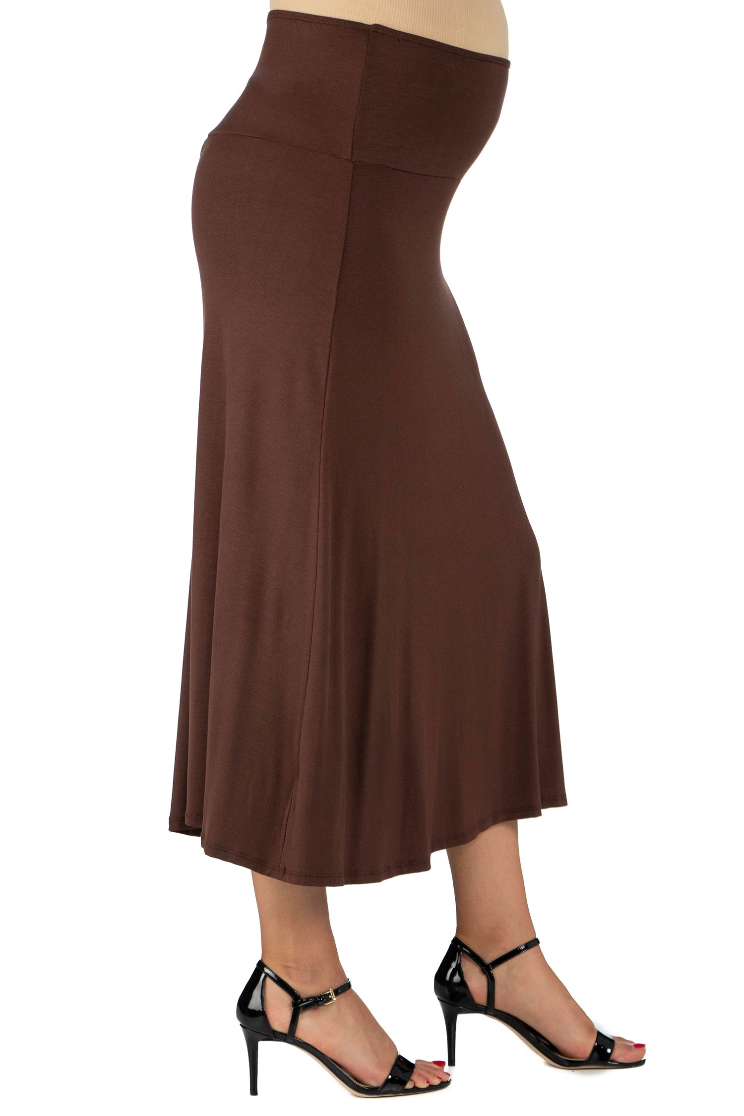 24seven Comfort Apparel Womens Comfortable Fit Elastic Waist Maternity Maxi Skirt-SKIRT-24Seven Comfort Apparel-BROWN-1X-24/7 Comfort Apparel