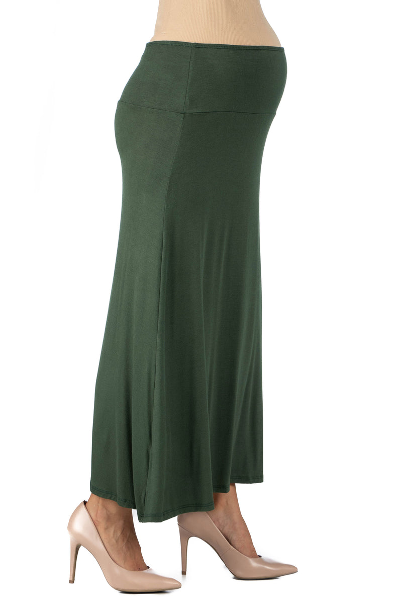 Womens Elastic Waist Solid Color Maternity Maxi Skirt