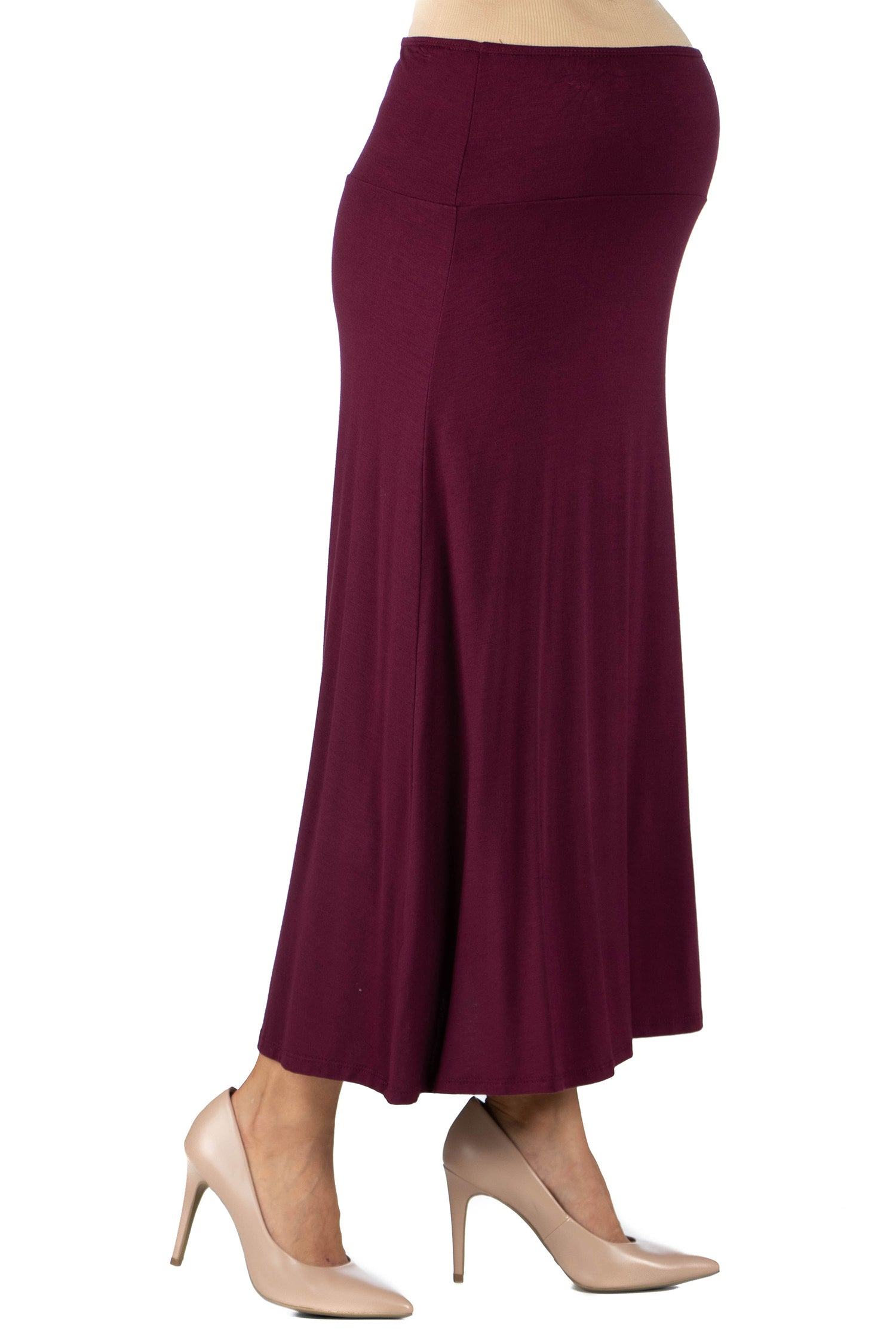 24seven Comfort Apparel Womens Comfortable Fit Elastic Waist Maternity Maxi Skirt-SKIRT-24Seven Comfort Apparel-WINE-1X-24/7 Comfort Apparel