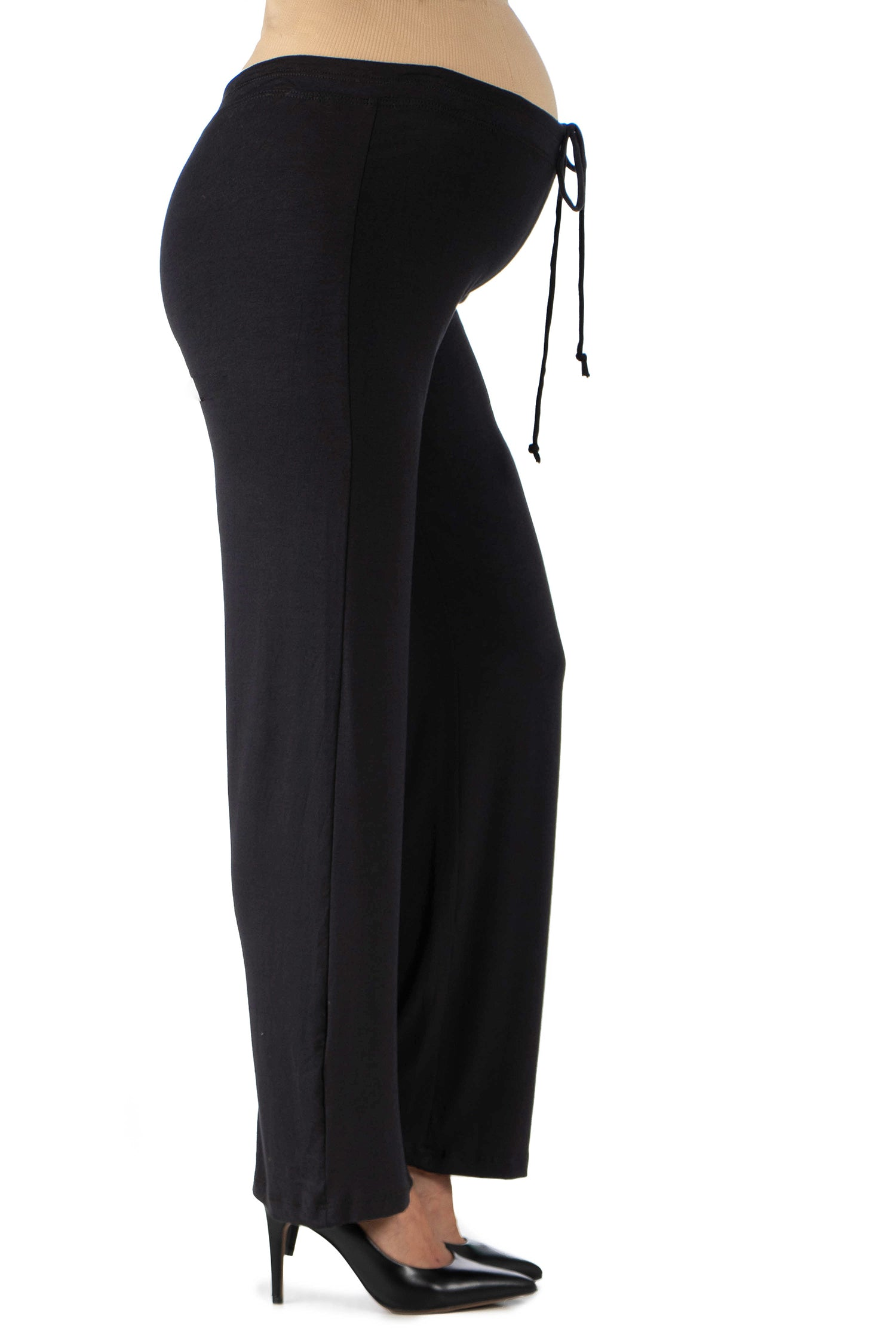 24seven Comfort Apparel Comfortable Stretch Draw String Maternity Pants-PANTS-24Seven Comfort Apparel-BLACK-1X-24/7 Comfort Apparel