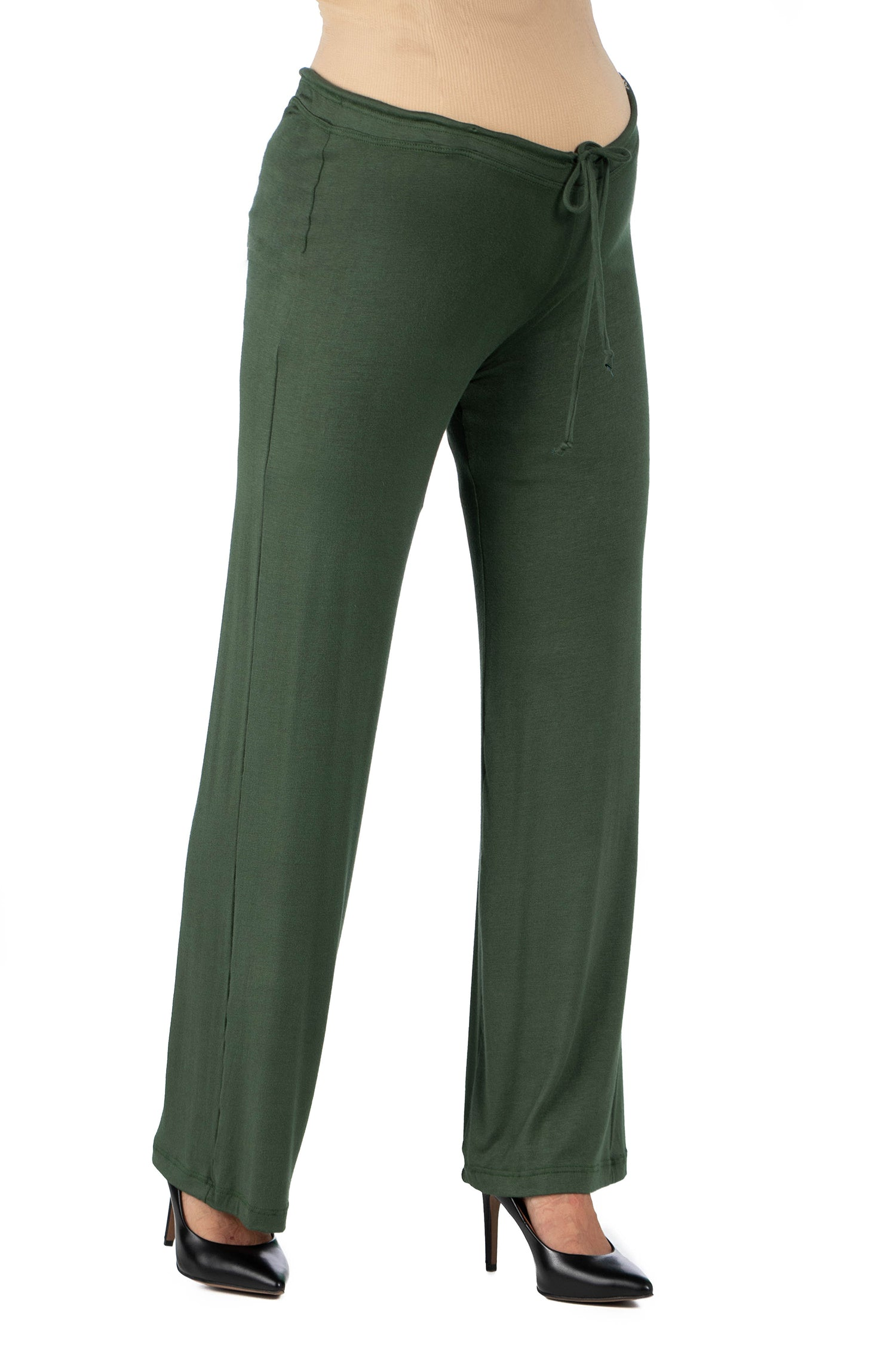 24seven Comfort Apparel Comfortable Stretch Draw String Maternity Pants-PANTS-24Seven Comfort Apparel-OLIVE-1X-24/7 Comfort Apparel