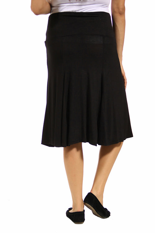 24seven Comfort Apparel A Line Midi Length Maternity Skirt