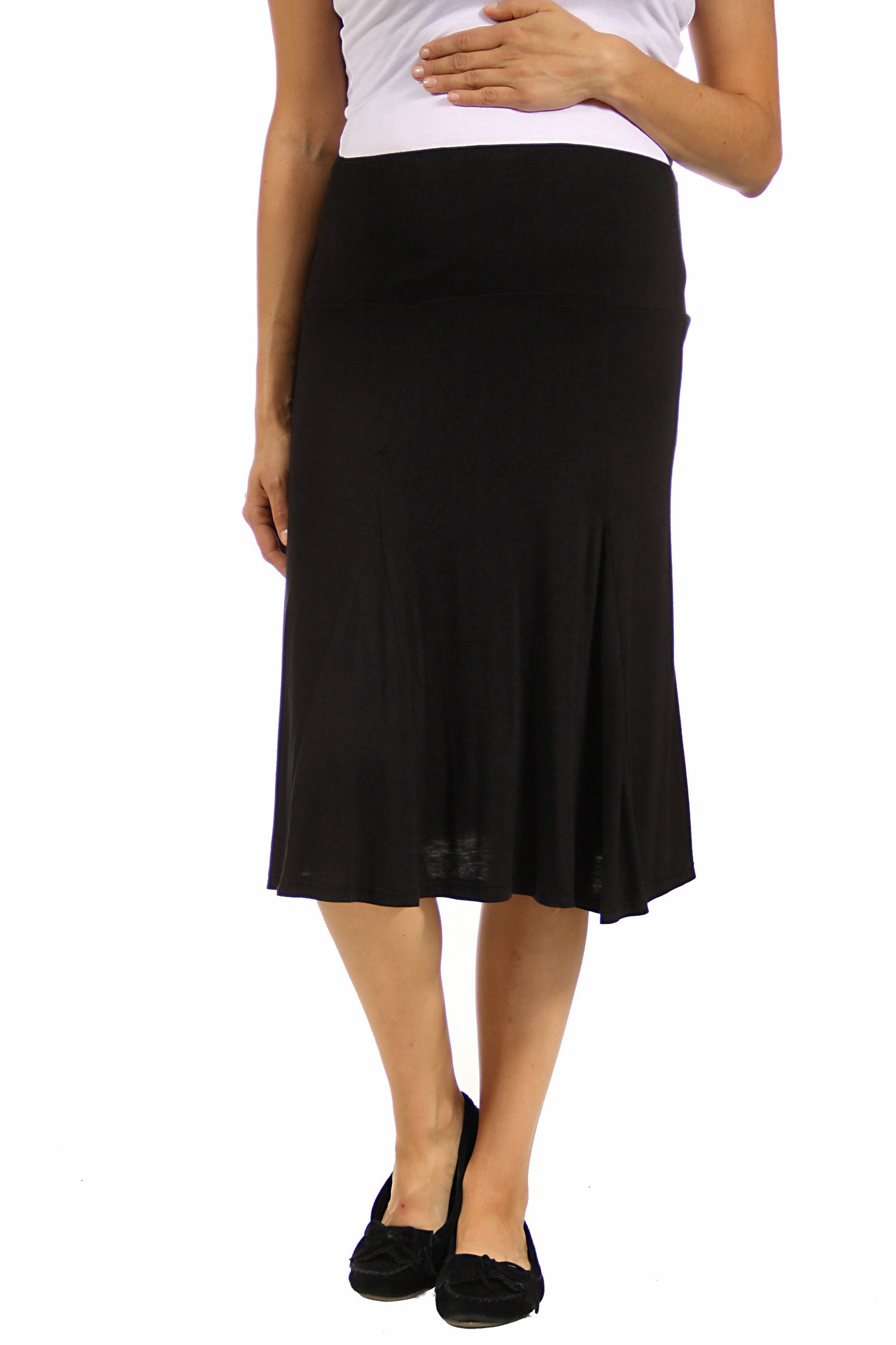 24seven Comfort Apparel Comfortable Black Maternity Midi Skirt-SKIRT-24Seven Comfort Apparel-BLACK-S-24/7 Comfort Apparel