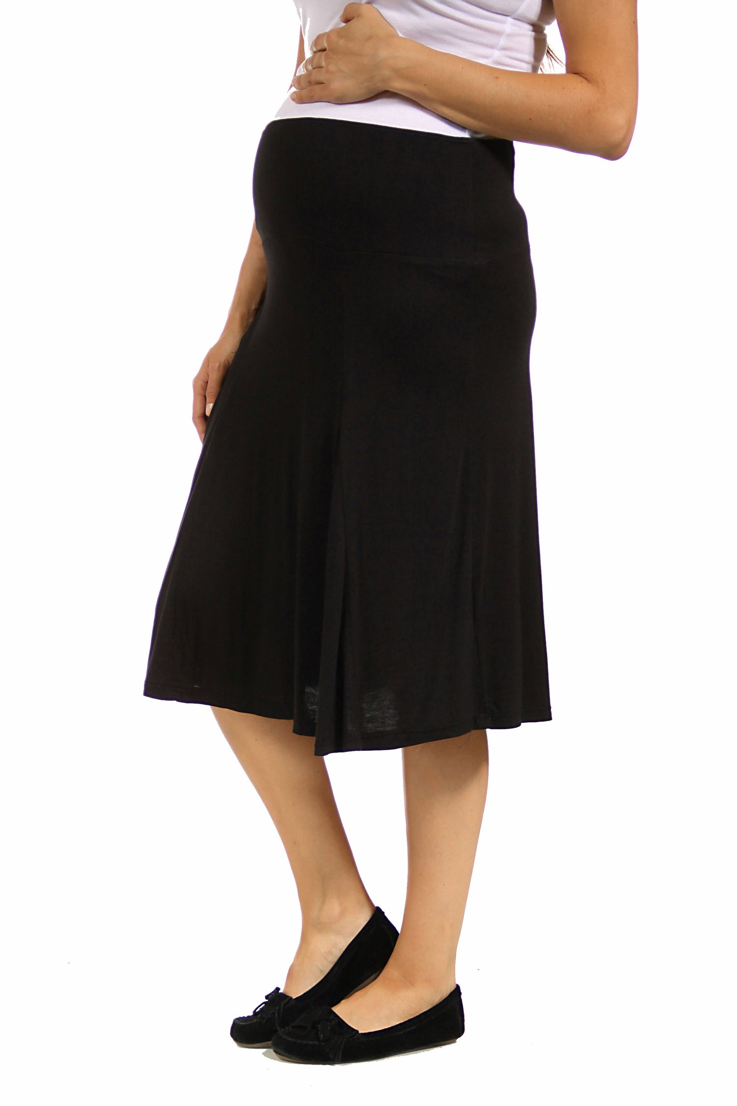 24seven Comfort Apparel Comfortable Black Maternity Midi Skirt-SKIRT-24Seven Comfort Apparel-BLACK-1X-24/7 Comfort Apparel