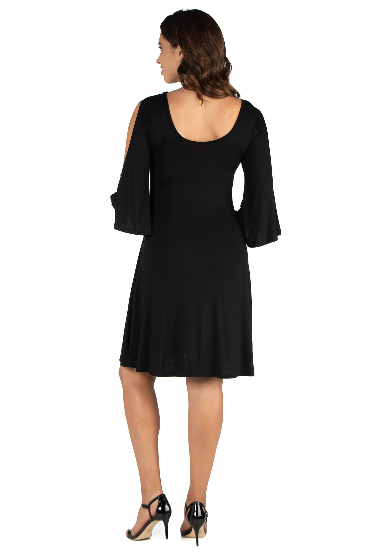 24seven Comfort Apparel Criss Cross Neckline Cold Shoulder Maternity Dress-DRESSES-24Seven Comfort Apparel-BLACK-S-24/7 Comfort Apparel