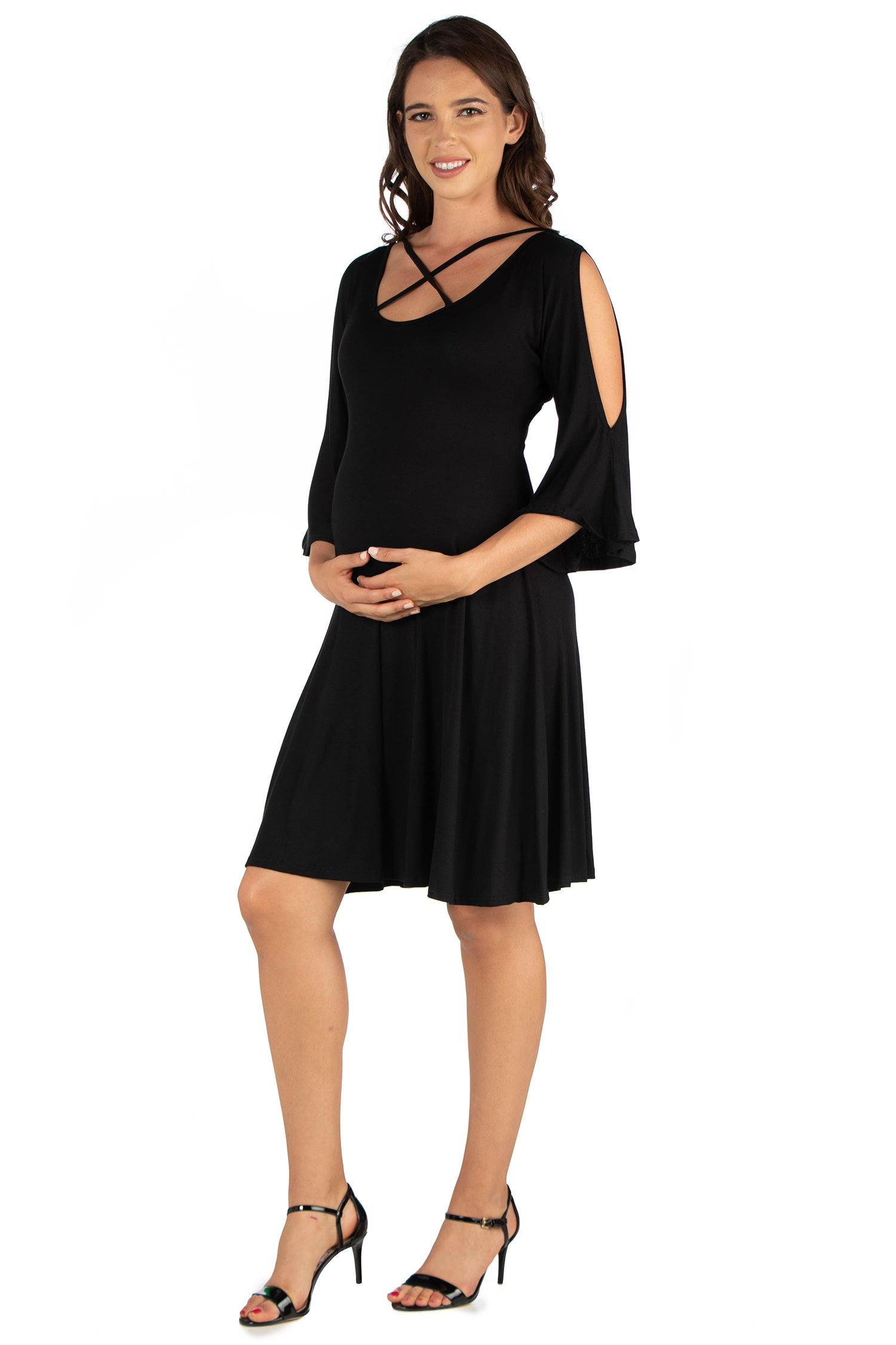 24seven Comfort Apparel Criss Cross Neckline Cold Shoulder Maternity Dress-DRESSES-24Seven Comfort Apparel-BLACK-1X-24/7 Comfort Apparel