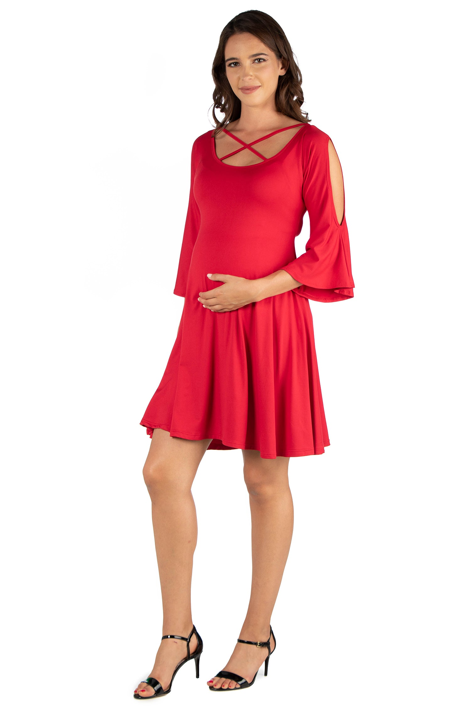 24seven Comfort Apparel Criss Cross Neckline Cold Shoulder Maternity Dress-DRESSES-24Seven Comfort Apparel-RED-1X-24/7 Comfort Apparel