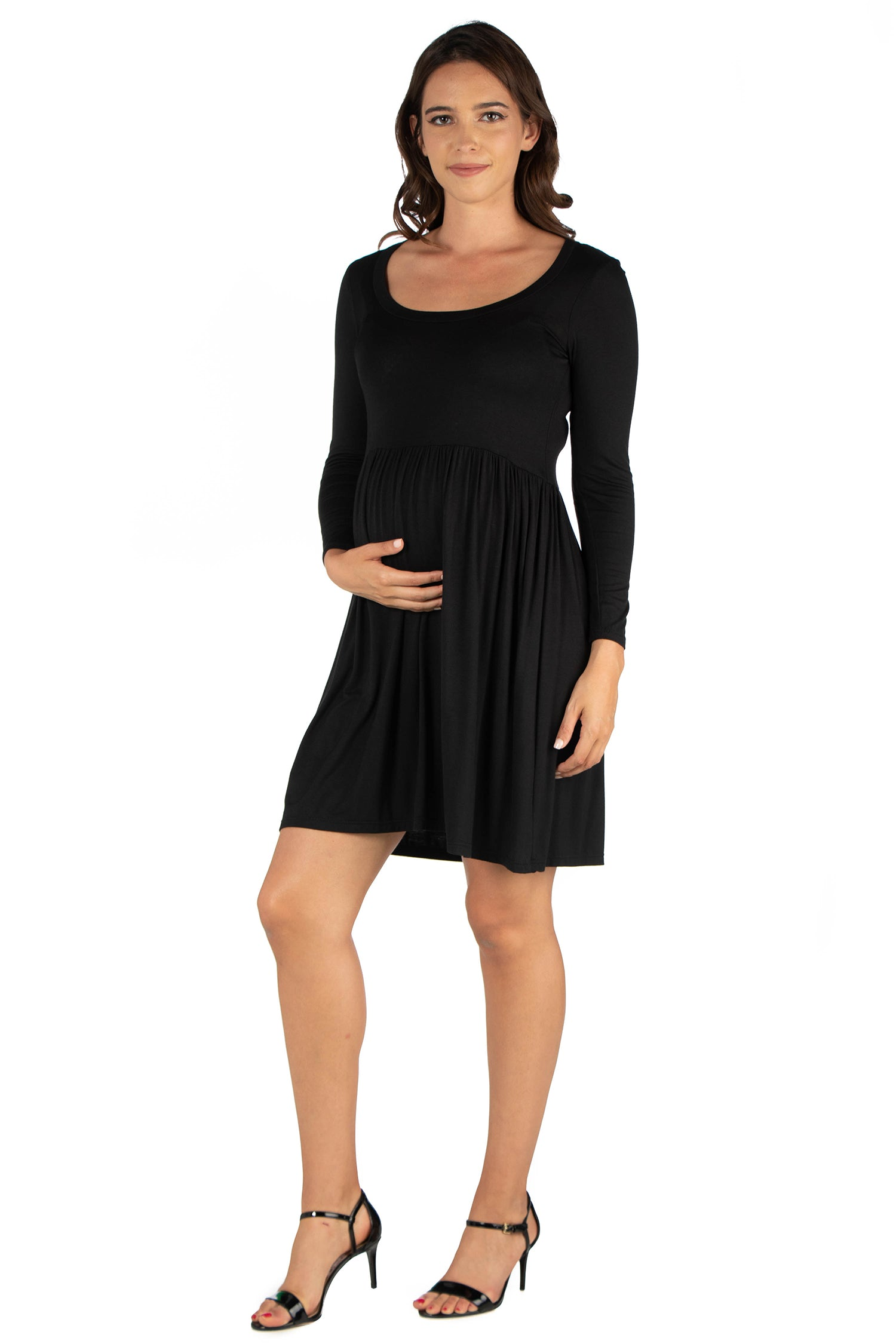 24seven Comfort Apparel Black Floral Print Long Sleeve Pleated Maternity Dress-DRESSES-24Seven Comfort Apparel-BLACK-1X-24/7 Comfort Apparel
