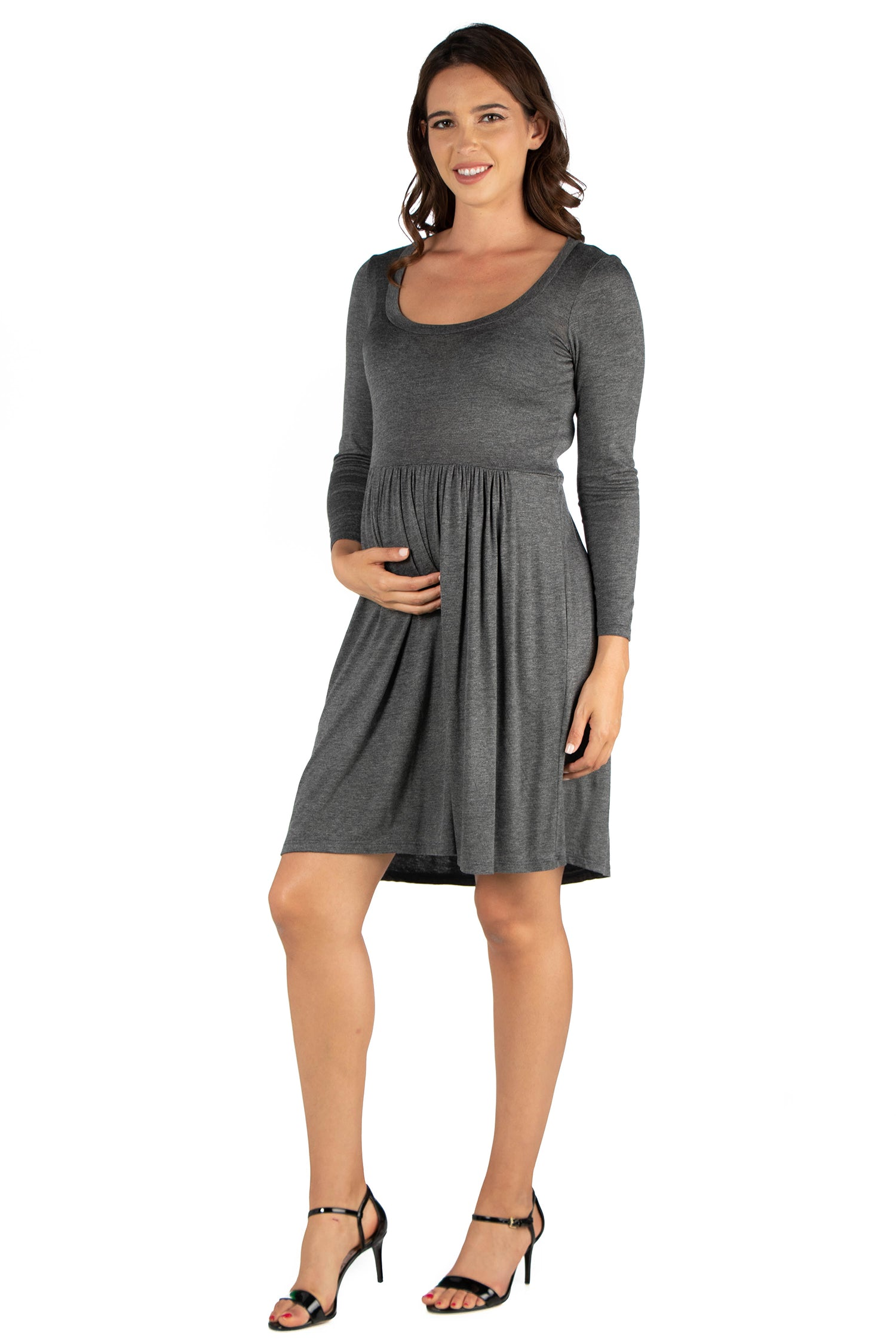 24seven Comfort Apparel Black Floral Print Long Sleeve Pleated Maternity Dress-DRESSES-24Seven Comfort Apparel-GREY-1X-24/7 Comfort Apparel