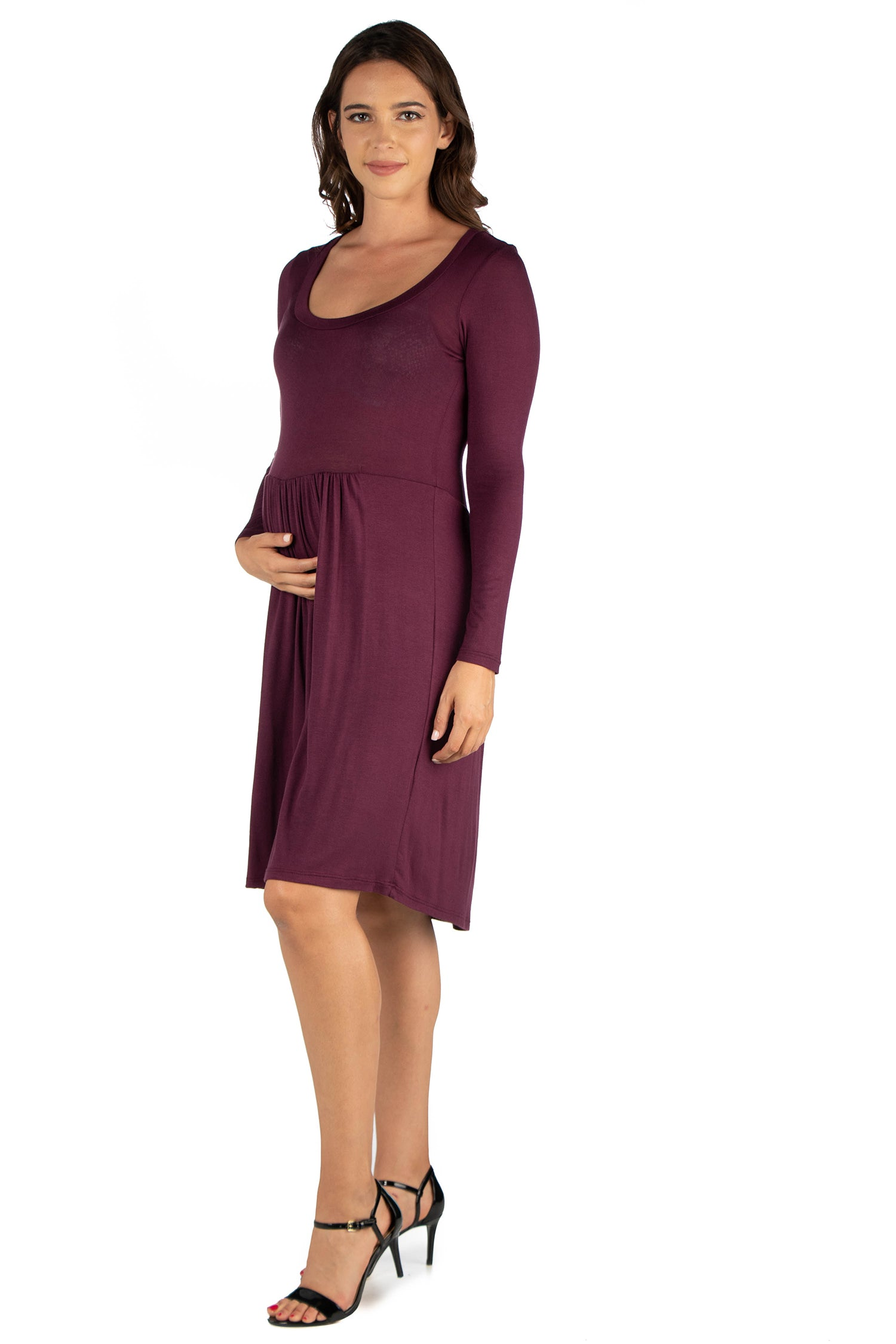 24seven Comfort Apparel Black Floral Print Long Sleeve Pleated Maternity Dress-DRESSES-24Seven Comfort Apparel-PLUM-1X-24/7 Comfort Apparel