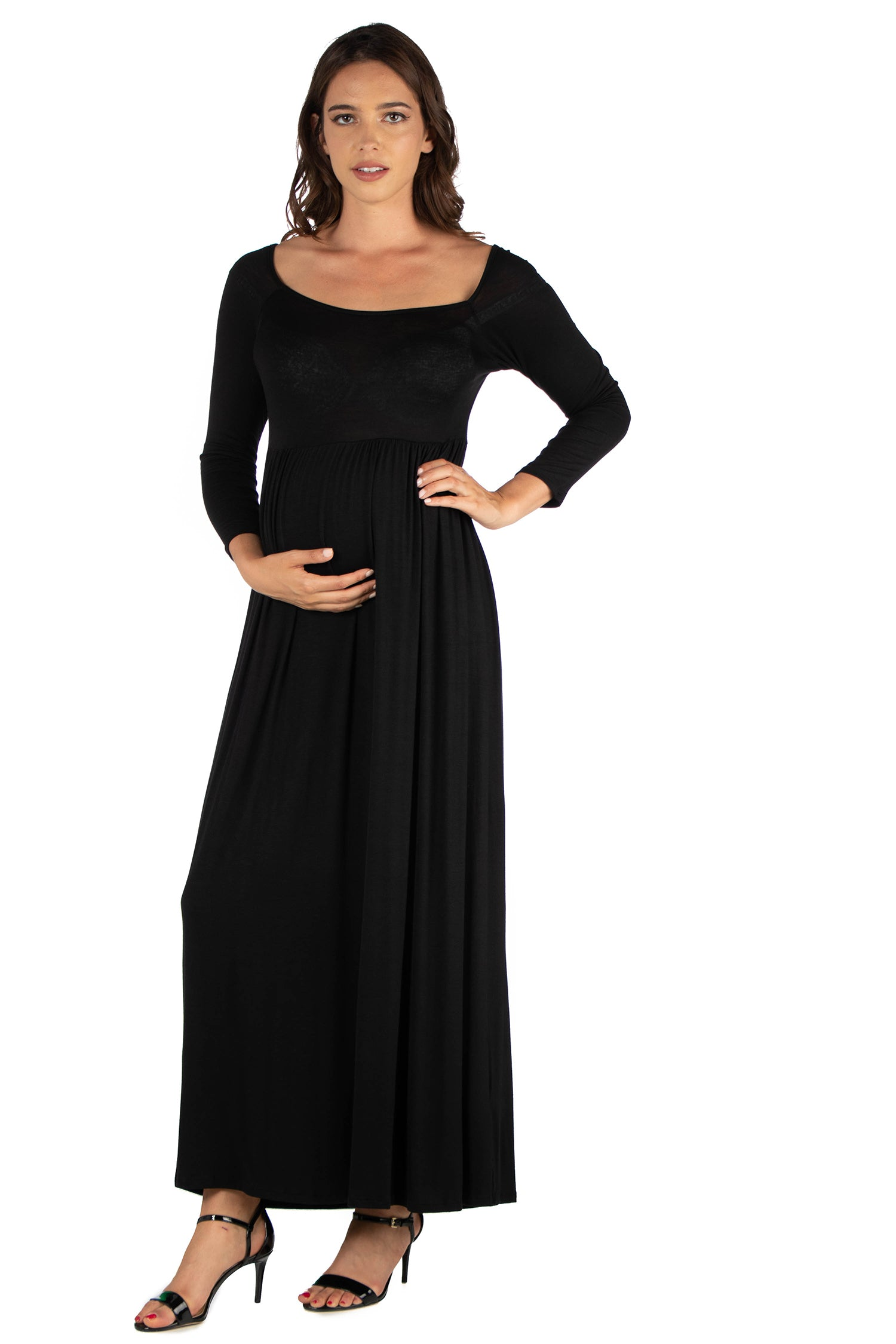 24seven Comfort Apparel Empire Waist Long Sleeve Maternity Maxi Dress-DRESSES-24Seven Comfort Apparel-BLACK-1X-24/7 Comfort Apparel