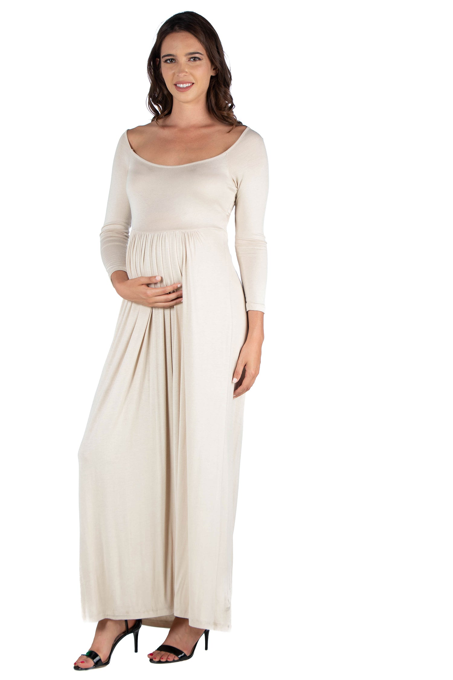 24seven Comfort Apparel Empire Waist Long Sleeve Maternity Maxi Dress-DRESSES-24Seven Comfort Apparel-IVORY-1X-24/7 Comfort Apparel
