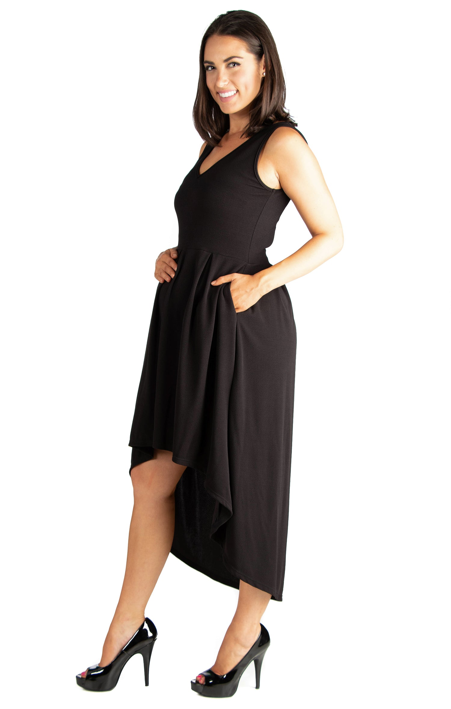 24seven Comfort Apparel High Low Maternity Party Dress with Pockets-DRESSES-24Seven Comfort Apparel-BLACK-1X-24/7 Comfort Apparel