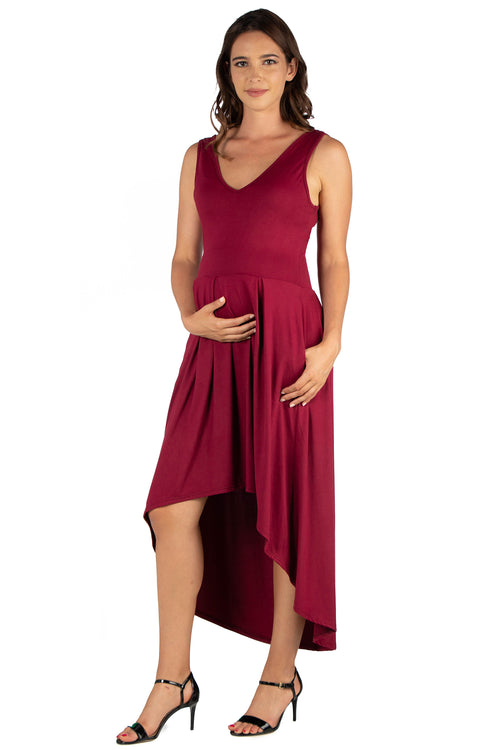 24seven Comfort Apparel High Low Maternity Party Dress with Pockets-DRESSES-24Seven Comfort Apparel-BURGUNDY-1X-24/7 Comfort Apparel