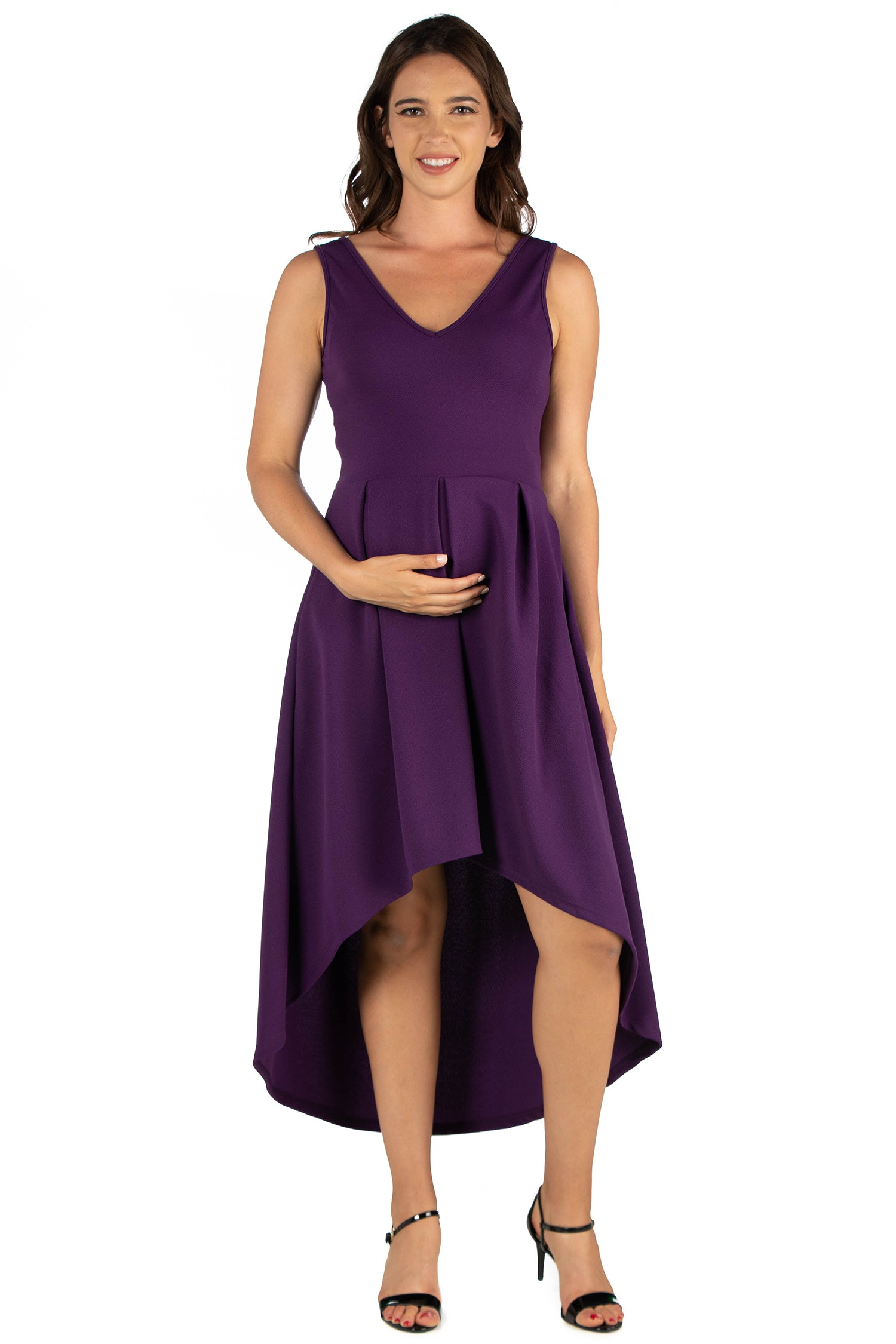 24seven Comfort Apparel High Low Maternity Party Dress with Pockets-DRESSES-24Seven Comfort Apparel-PURPLE-S-24/7 Comfort Apparel