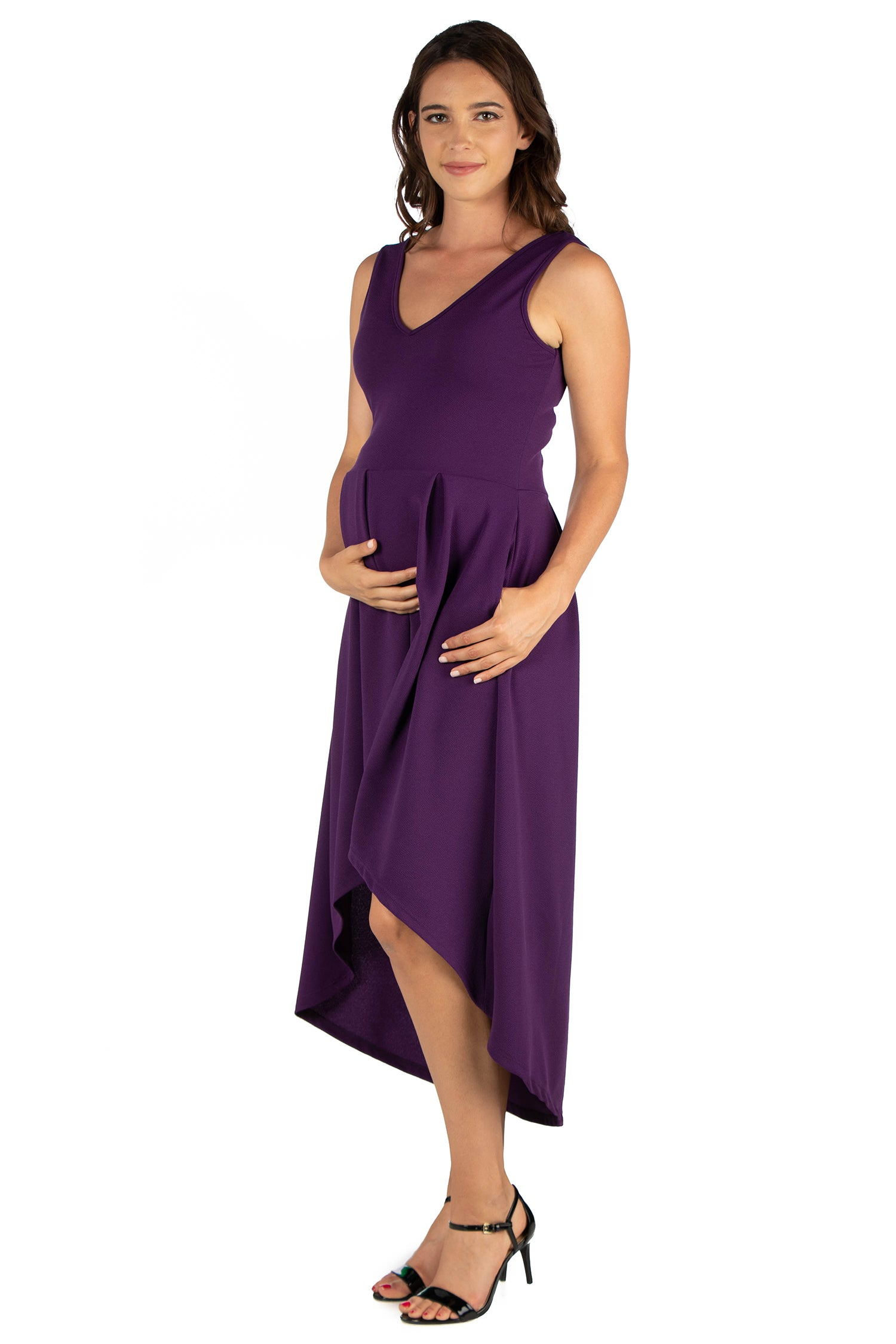 24seven Comfort Apparel High Low Maternity Party Dress with Pockets-DRESSES-24Seven Comfort Apparel-PURPLE-1X-24/7 Comfort Apparel
