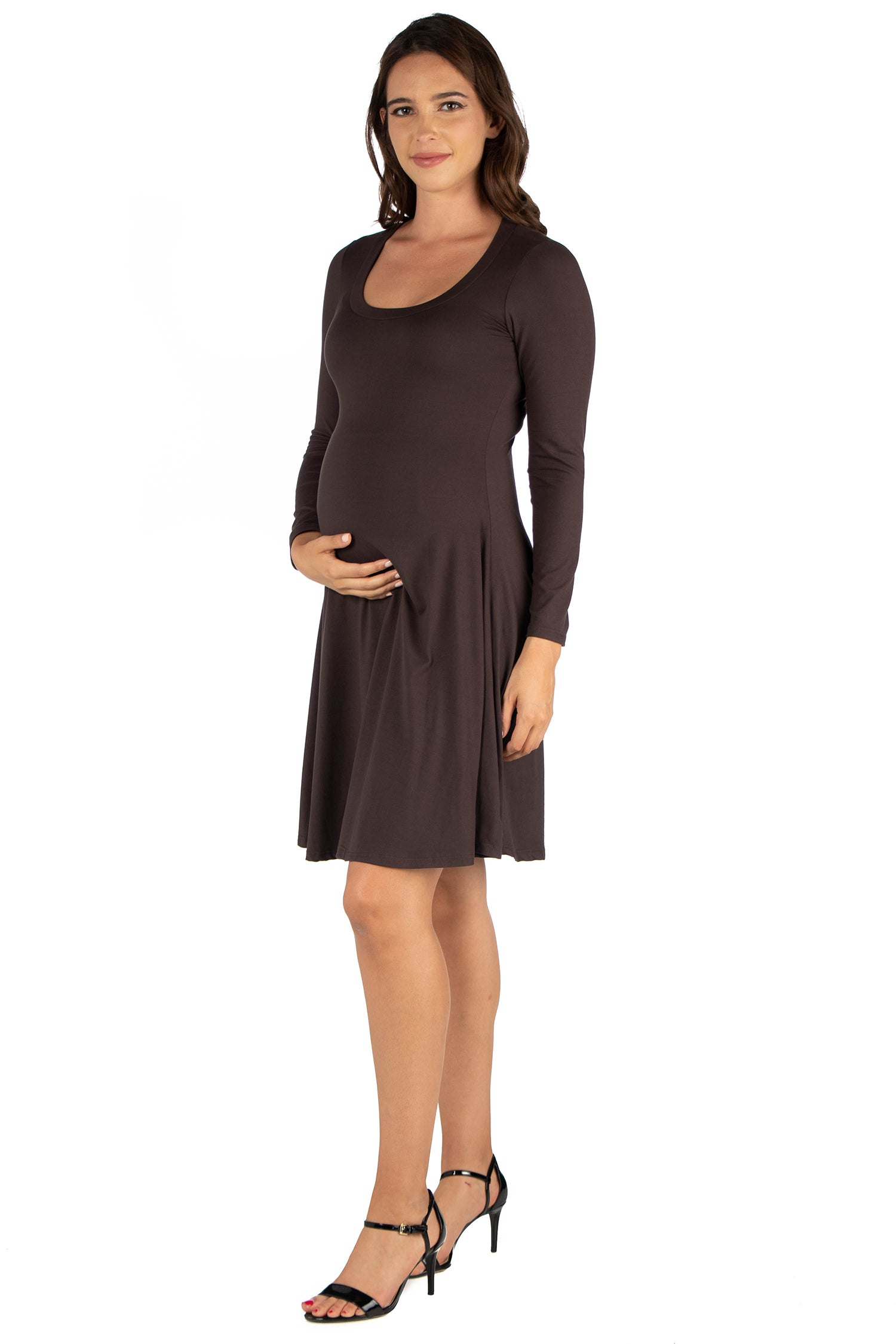 24seven Comfort Apparel Long Sleeve Flared Maternity Mini Dress-DRESSES-24Seven Comfort Apparel-BROWN-1X-24/7 Comfort Apparel