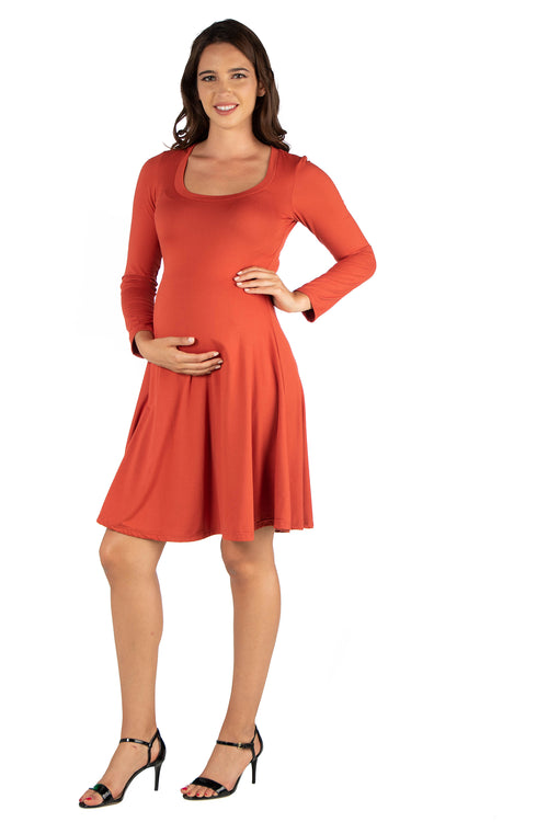 24seven Comfort Apparel Long Sleeve Flared Maternity Mini Dress-DRESSES-24Seven Comfort Apparel-RUST-1X-24/7 Comfort Apparel