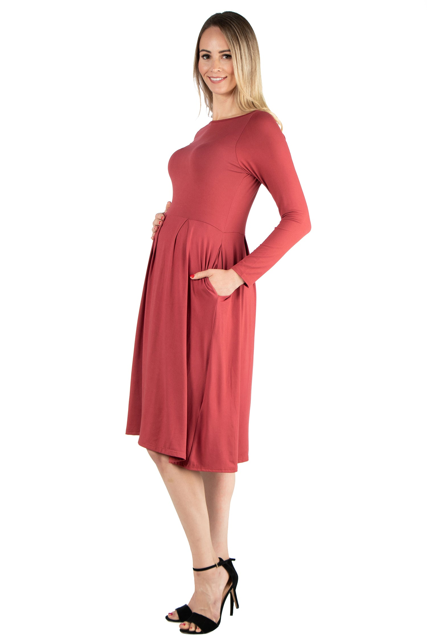 accf4dd6287 24seven Comfort Apparel Long Sleeve Fit and Flare Maternity Midi Dress- Dresses-24/