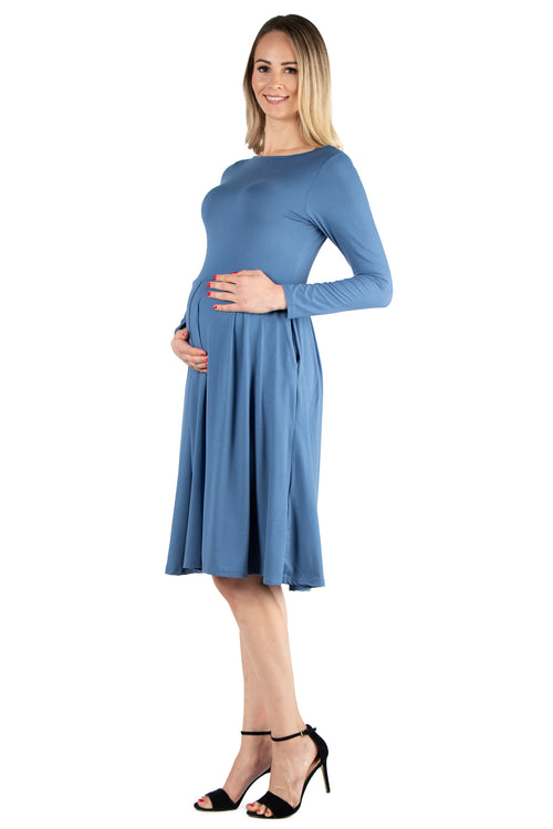 24seven Comfort Apparel Long Sleeve Fit and Flare Maternity Midi Dress-DRESSES-24Seven Comfort Apparel-INDIGO-1X-24/7 Comfort Apparel