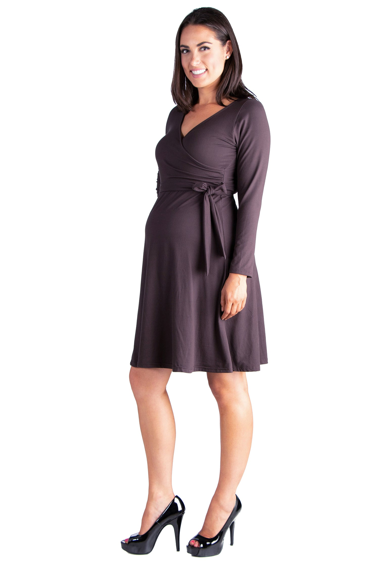 24seven Comfort Apparel Chic V-Neck Long Sleeve Belted Maternity Dress-DRESSES-24Seven Comfort Apparel-BROWN-1X-24/7 Comfort Apparel