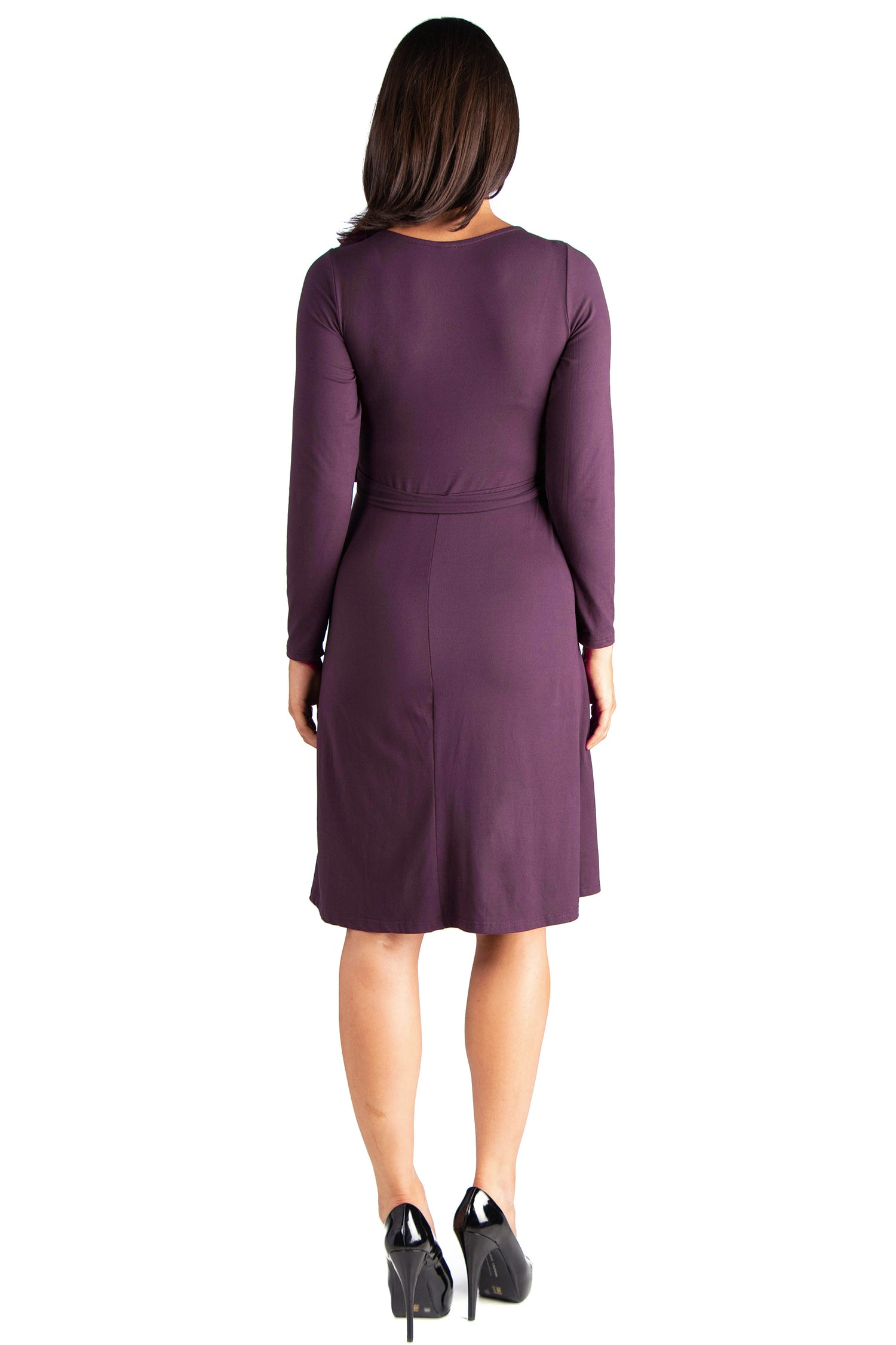 24seven Comfort Apparel Chic V-Neck Long Sleeve Belted Maternity Dress-DRESSES-24Seven Comfort Apparel-PURPLE-S-24/7 Comfort Apparel