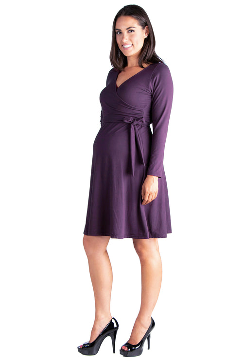24seven Comfort Apparel Chic V-Neck Long Sleeve Belted Maternity Dress-DRESSES-24Seven Comfort Apparel-PURPLE-1X-24/7 Comfort Apparel
