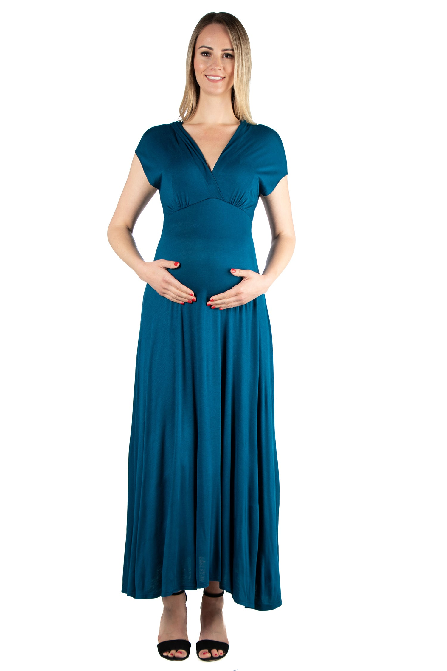 24seven Comfort Apparel Empire Waist V Neck Maternity Maxi Dress-DRESSES-24Seven Comfort Apparel-WINE-S-24/7 Comfort Apparel