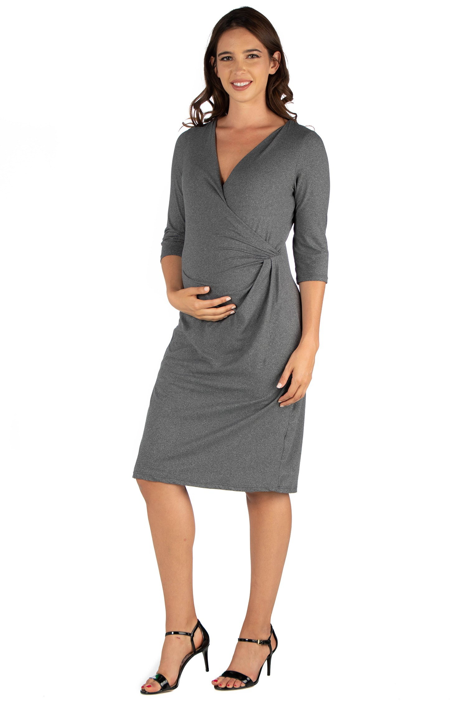 24seven Comfort Apparel Draped in Style Knee Length V Neck Maternity Dress-DRESSES-24Seven Comfort Apparel-GREY-1X-24/7 Comfort Apparel