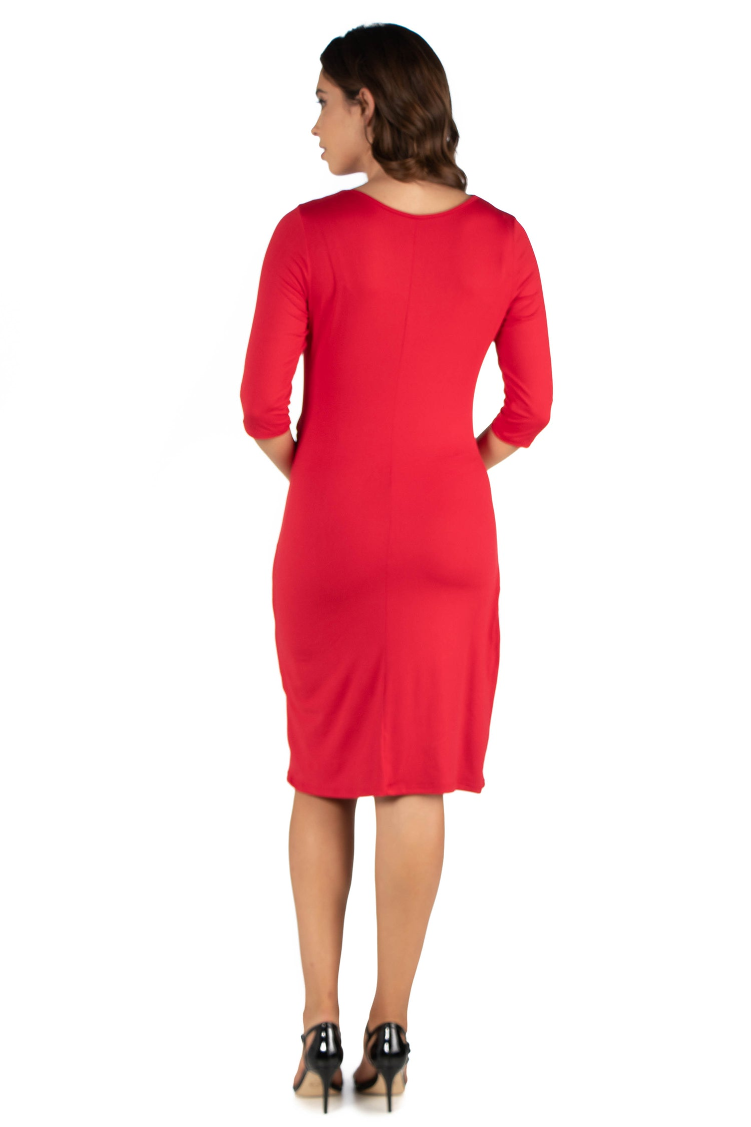 24seven Comfort Apparel Draped in Style Knee Length V Neck Maternity Dress-DRESSES-24Seven Comfort Apparel-RED-S-24/7 Comfort Apparel