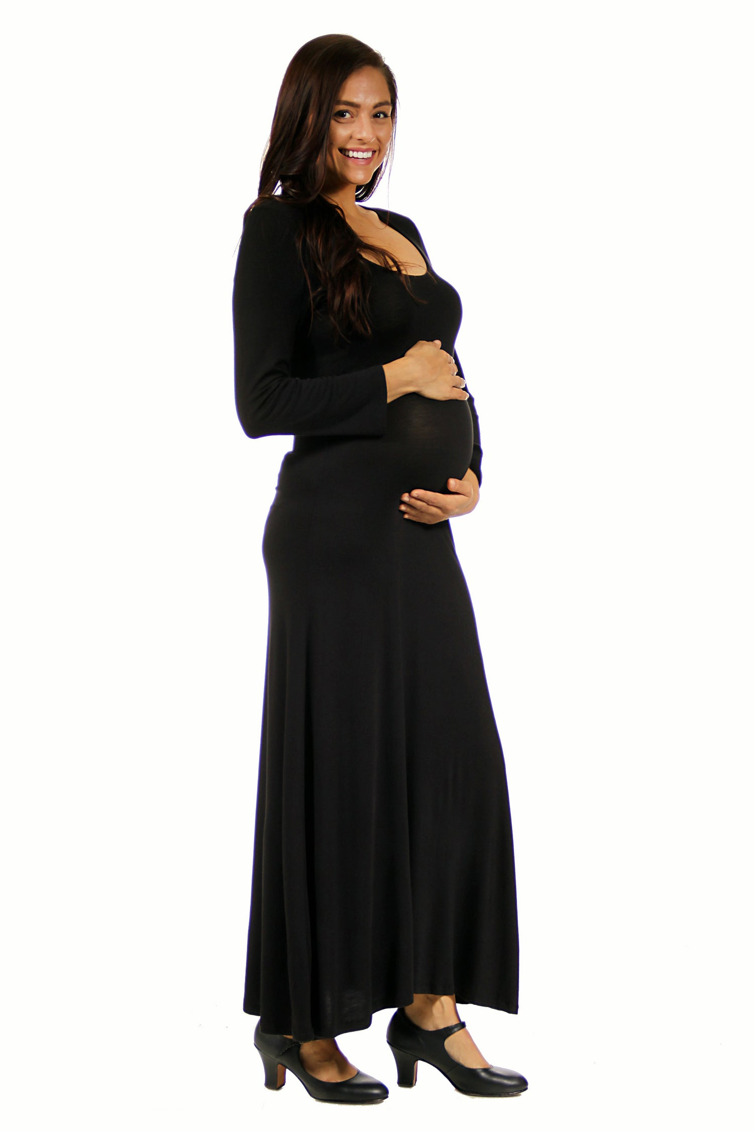 24seven Comfort Apparel Long Sleeve Maternity Maxi Dress-DRESSES-24Seven Comfort Apparel-BLACK-1X-24/7 Comfort Apparel