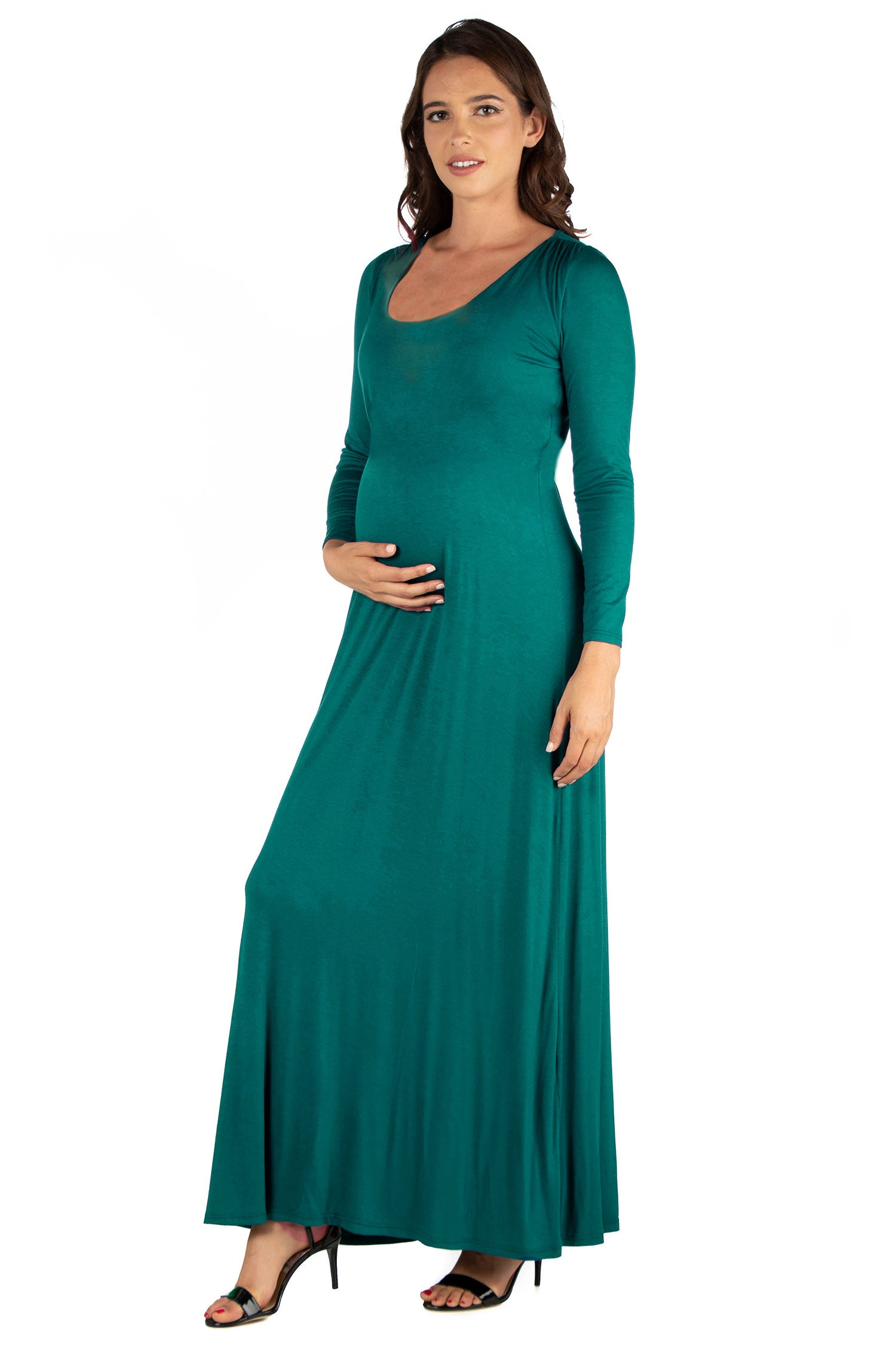 24seven Comfort Apparel Long Sleeve Maternity Maxi Dress-DRESSES-24Seven Comfort Apparel-FOREST-1X-24/7 Comfort Apparel