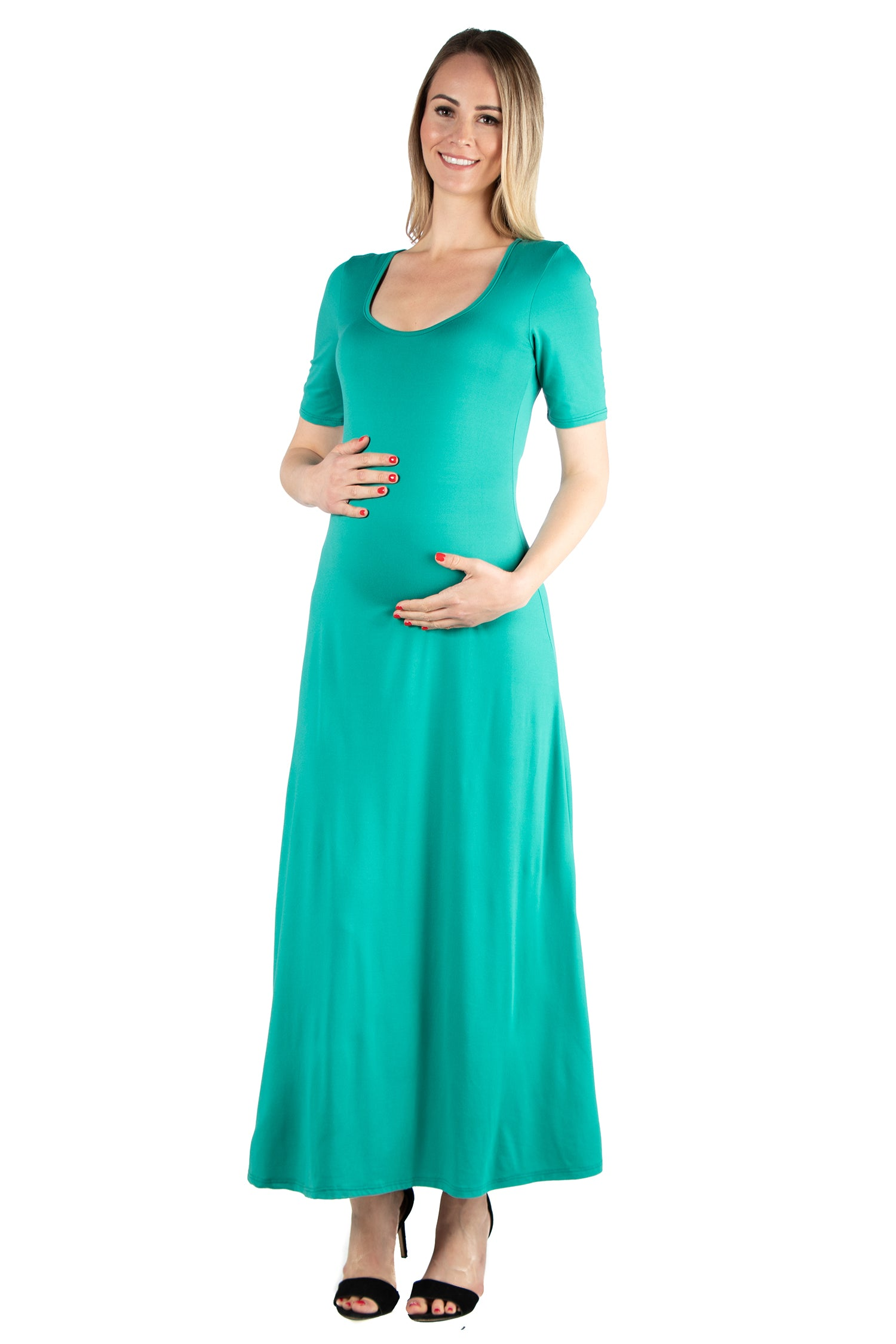24seven Comfort Apparel Elbow Length Sleeve Maternity Maxi Dress-DRESSES-24Seven Comfort Apparel-BLACK-S-24/7 Comfort Apparel