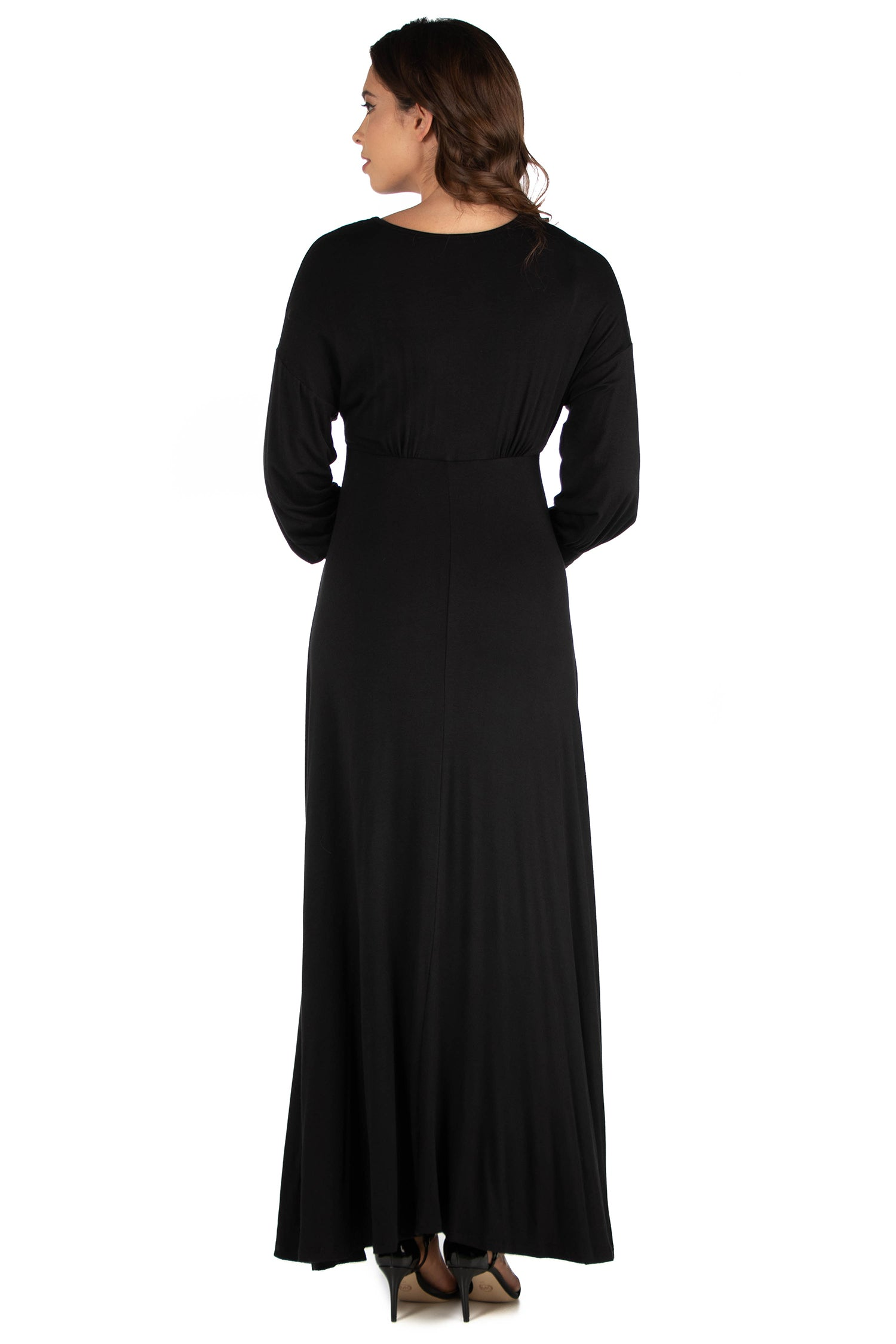24seven Comfort Apparel V-Neck Long Sleeve Maternity Maxi Dress