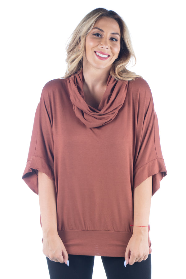 Oversized Cowl Neck Plus SizeTunic Top