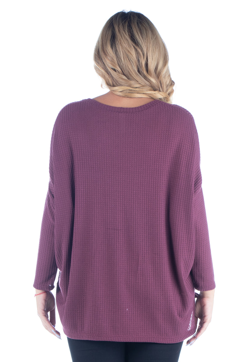 Oversized Waffle Fabric Long Sleeve Dolman Plus Size Tunic Top
