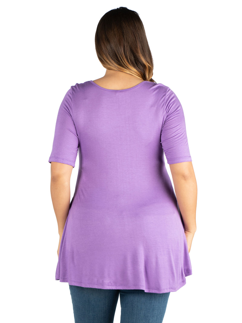 Elbow Sleeve Henley Plus Size Tunic Top