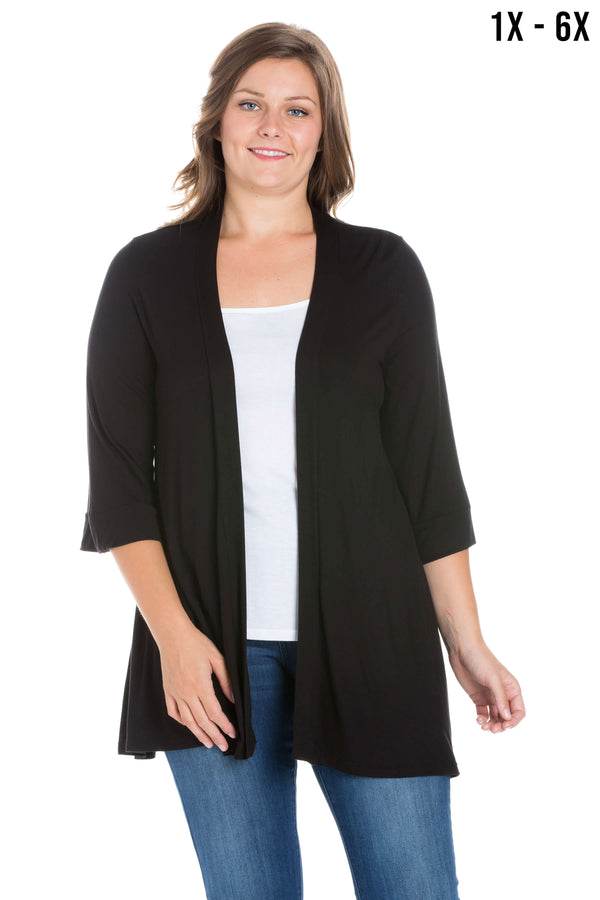 Elbow Length Sleeve Open Front Plus Size Cardigan