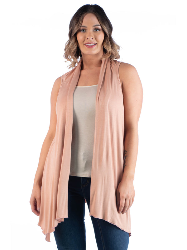 Plus Size Asymmetric Open Front Cardigan