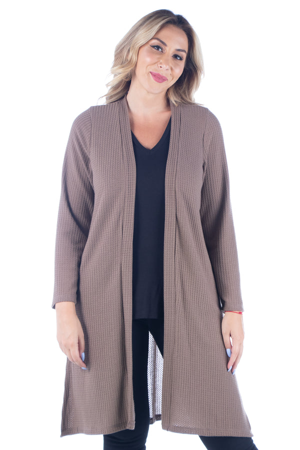 Waffle Fabric Long Sleeve Knee Length Plus Size Cardigan