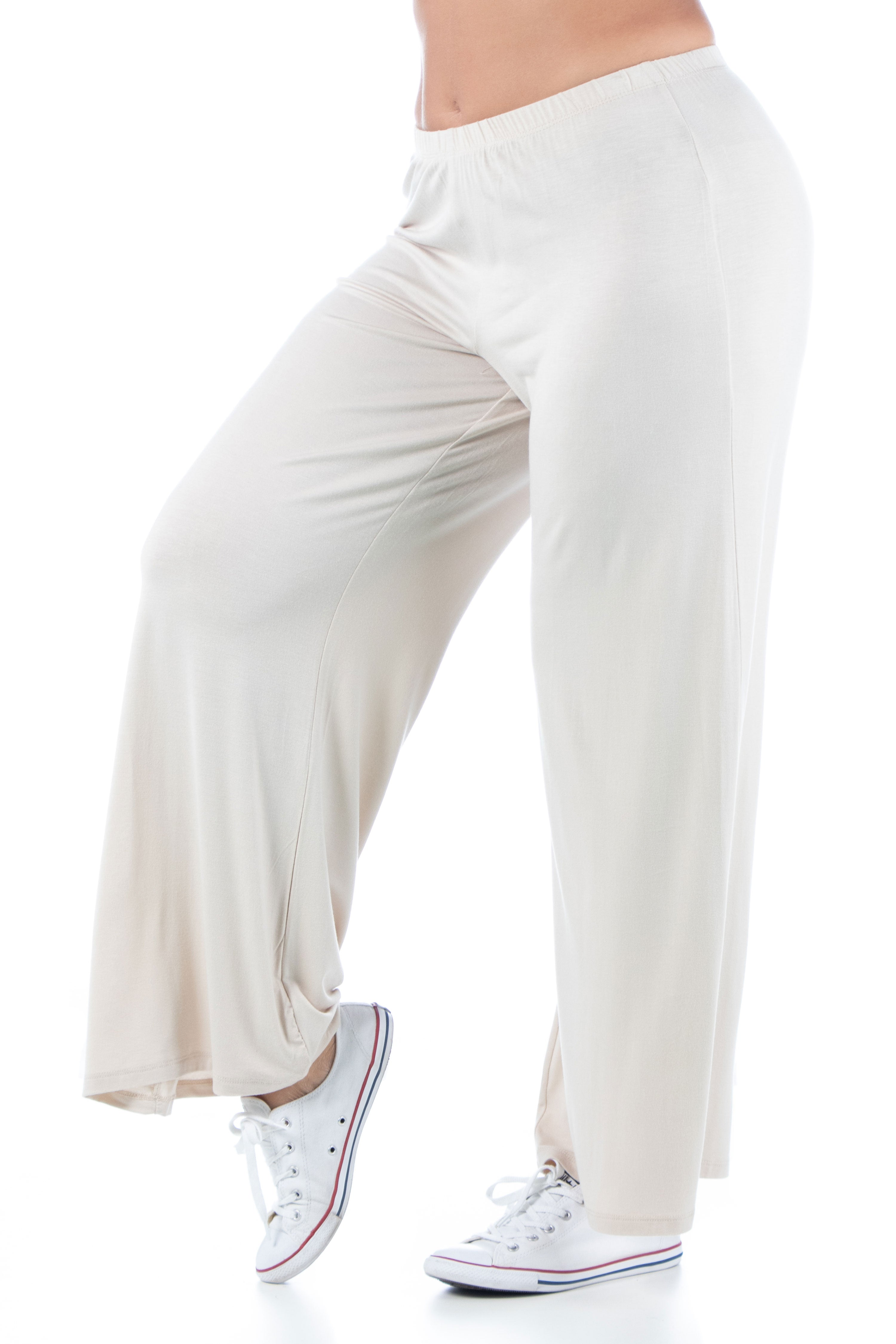 24seven Comfort Apparel Comfortable Solid Color Plus Size Palazzo Lounge Pants