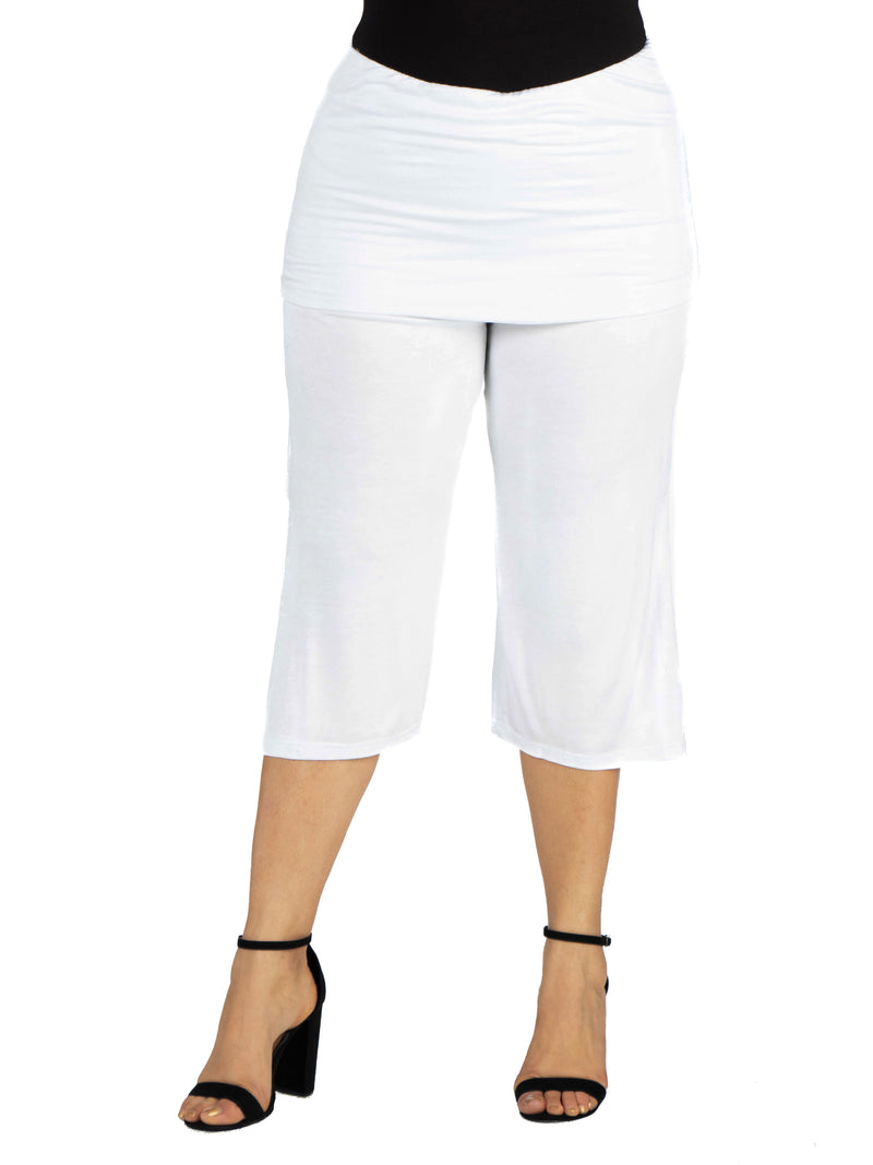 Foldover Waist Plus Size Cropped Pants