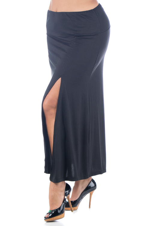 24seven Comfort Apparel Black Side Slit Ankle Length Skirt