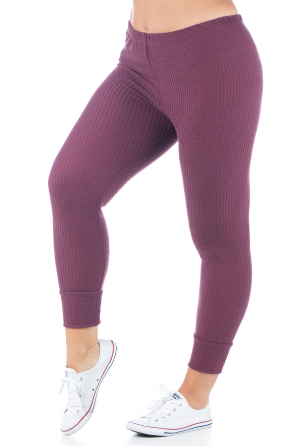 Waffle Fabric Fitted Ankle Cuff Plus Size Sweatpants