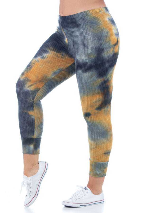 Tie Dye Print Fitted Ankle Cuff Plus Size Sweatpants