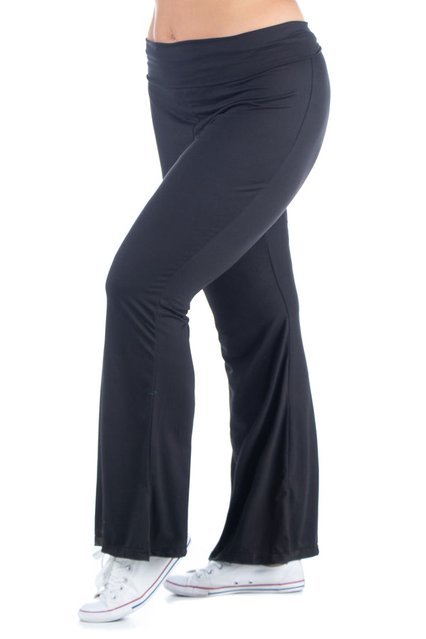 Black Bell Bottom Foldover Waist Plus Size Sweatpants